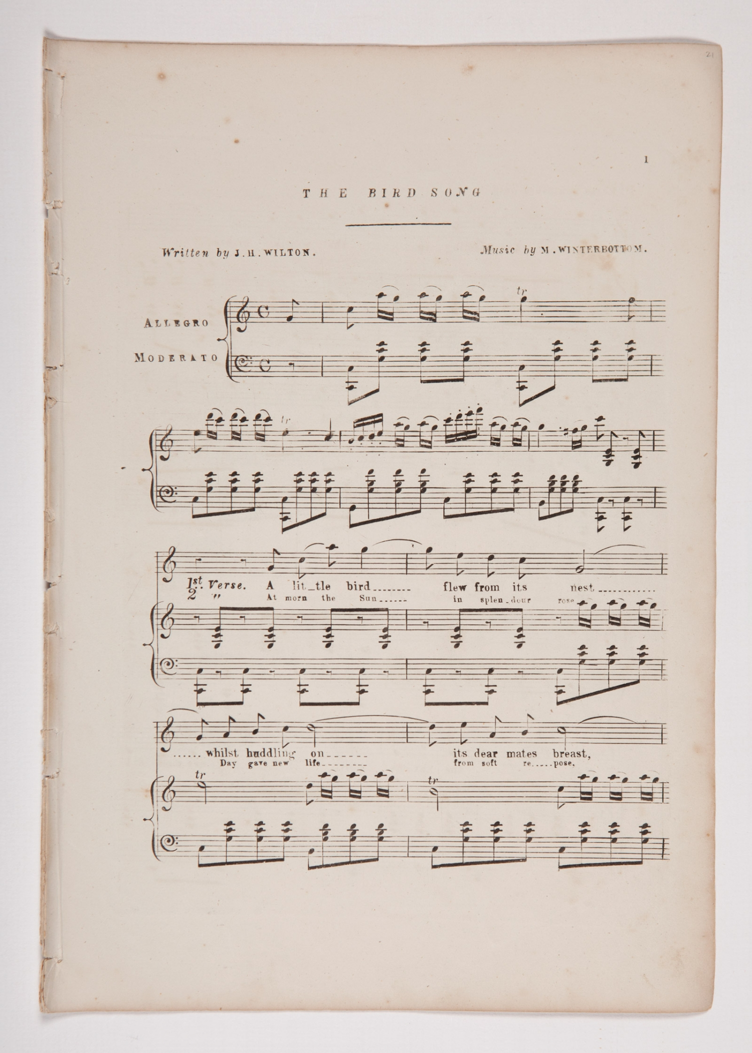 Sheet music, 'The Bird Song', composed by John Winterbottom, page 1, published 1855