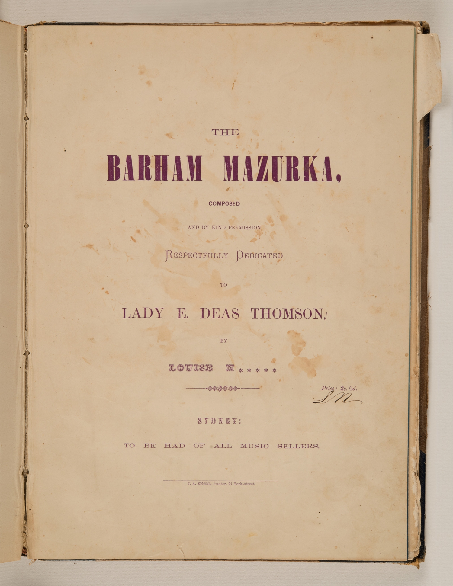 Sheet music, 'The Barham Mazurka', composed by Louise N, published 1876