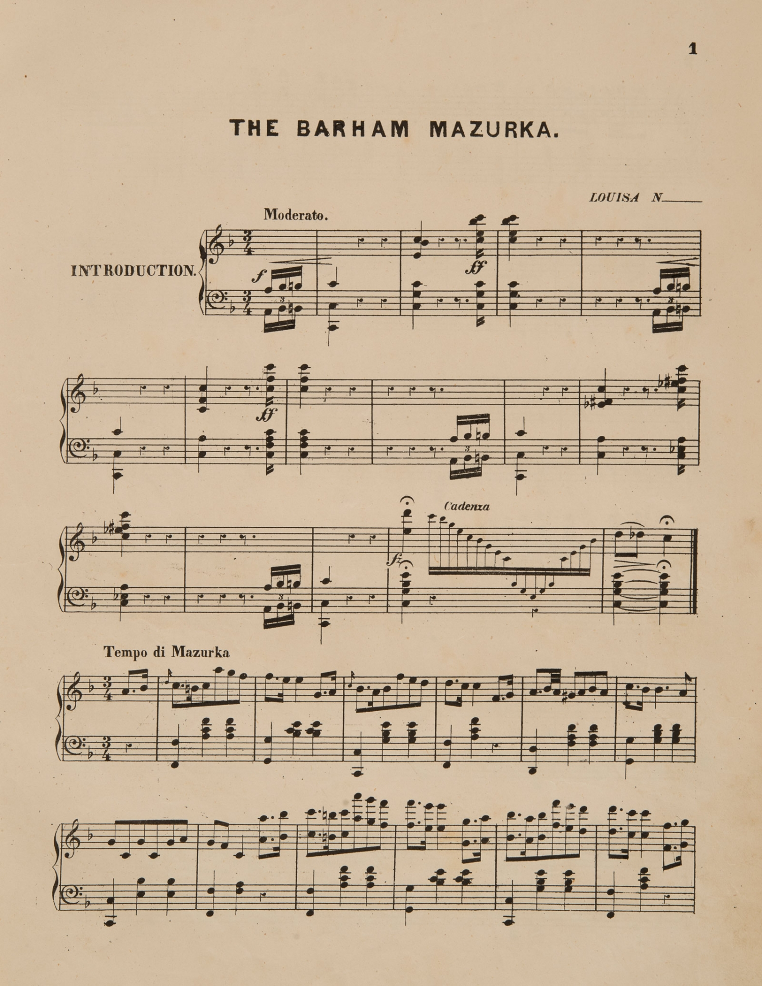 Sheet music, 'The Barham Mazurka', composed by Louise N, page 1, published 1876