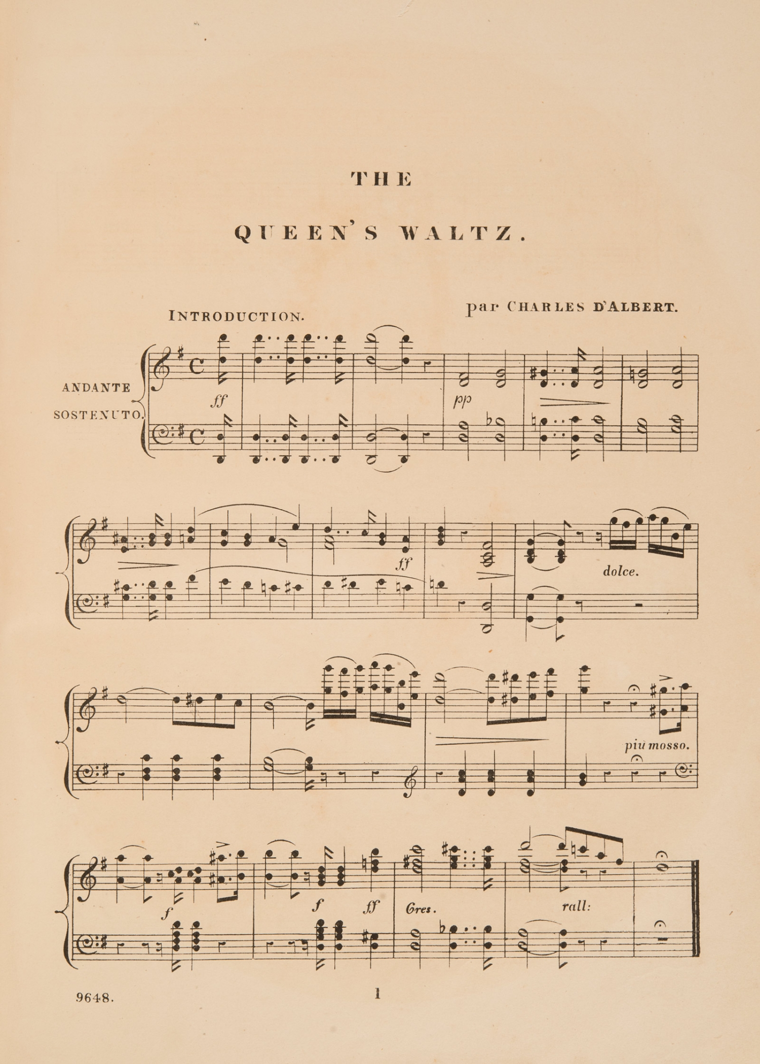 Sheet music, 'The Queen's Waltz', by Charles D'Albert, page 1, published 1857
