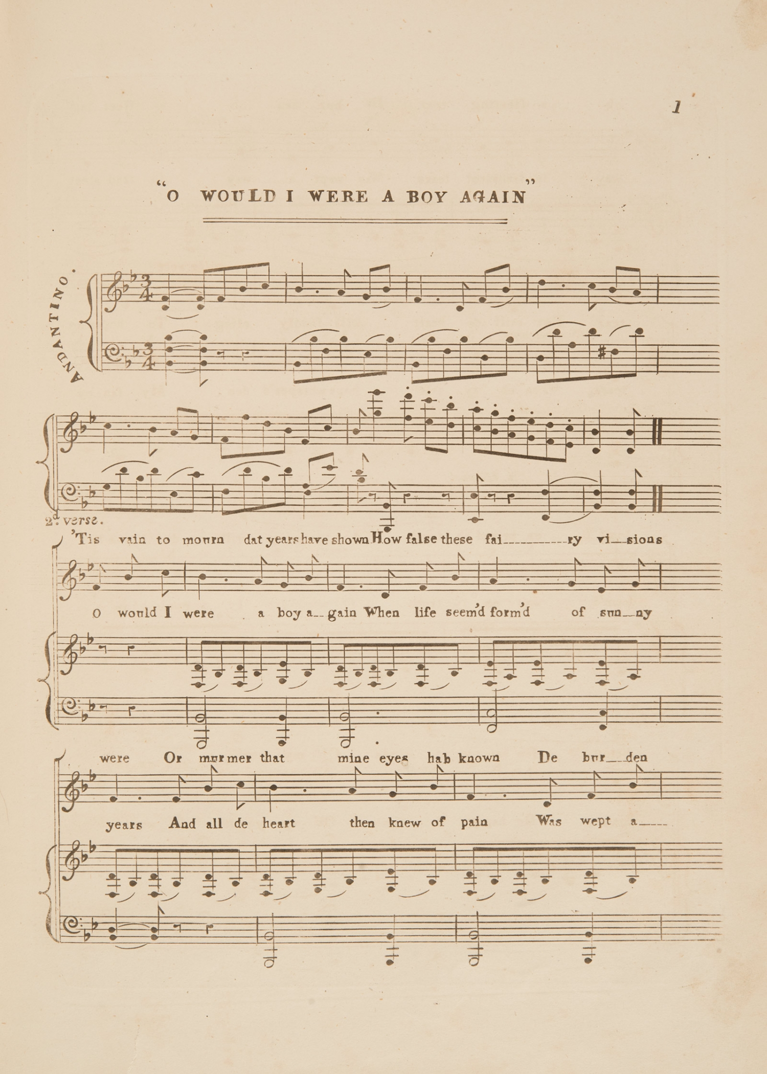 Sheet music, 'O, would I were a Boy again' by Frank Romer, page 1, published circa 1854