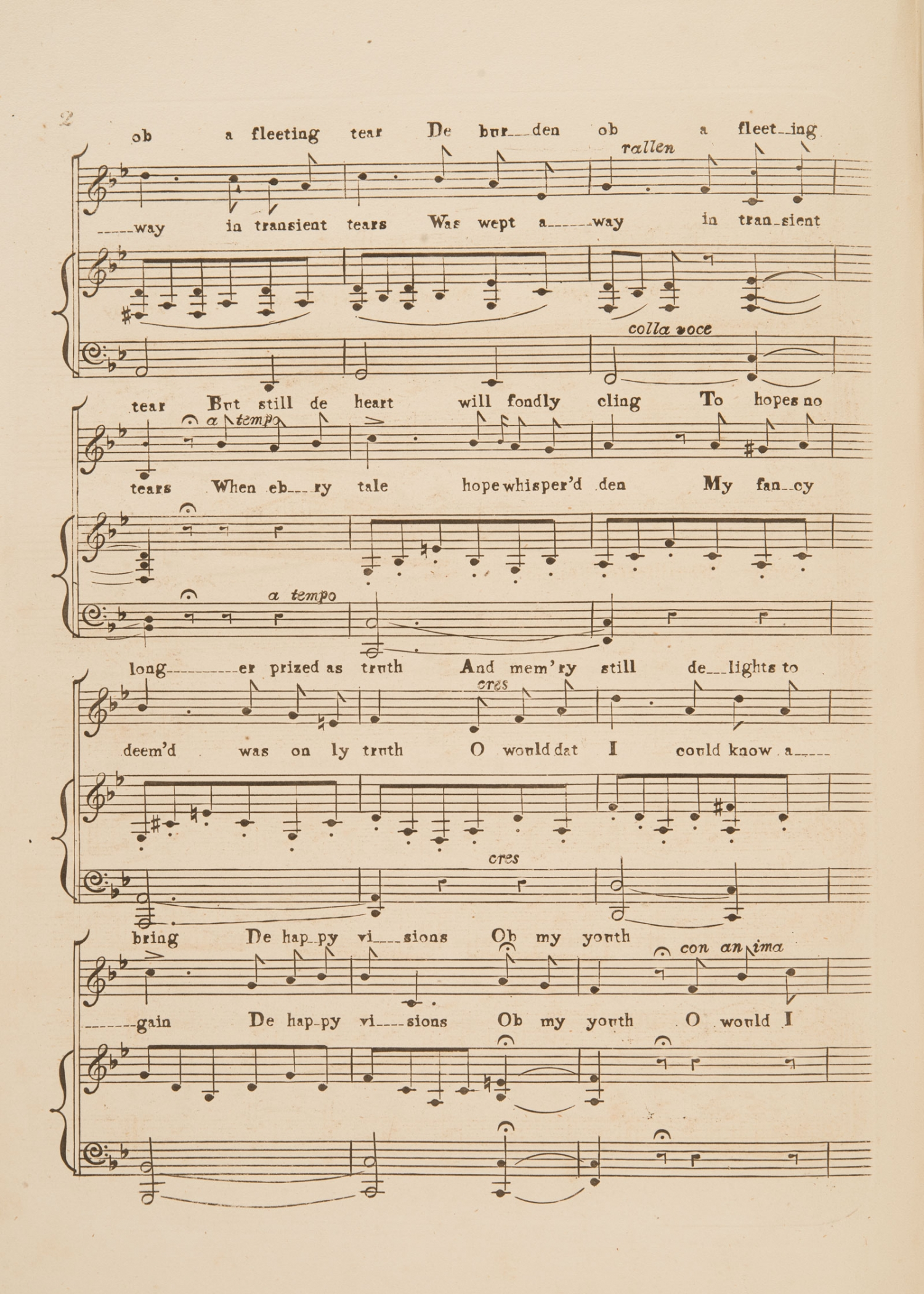 Sheet music, 'O, would I were a Boy again' by Frank Romer, page 2, published circa 1854