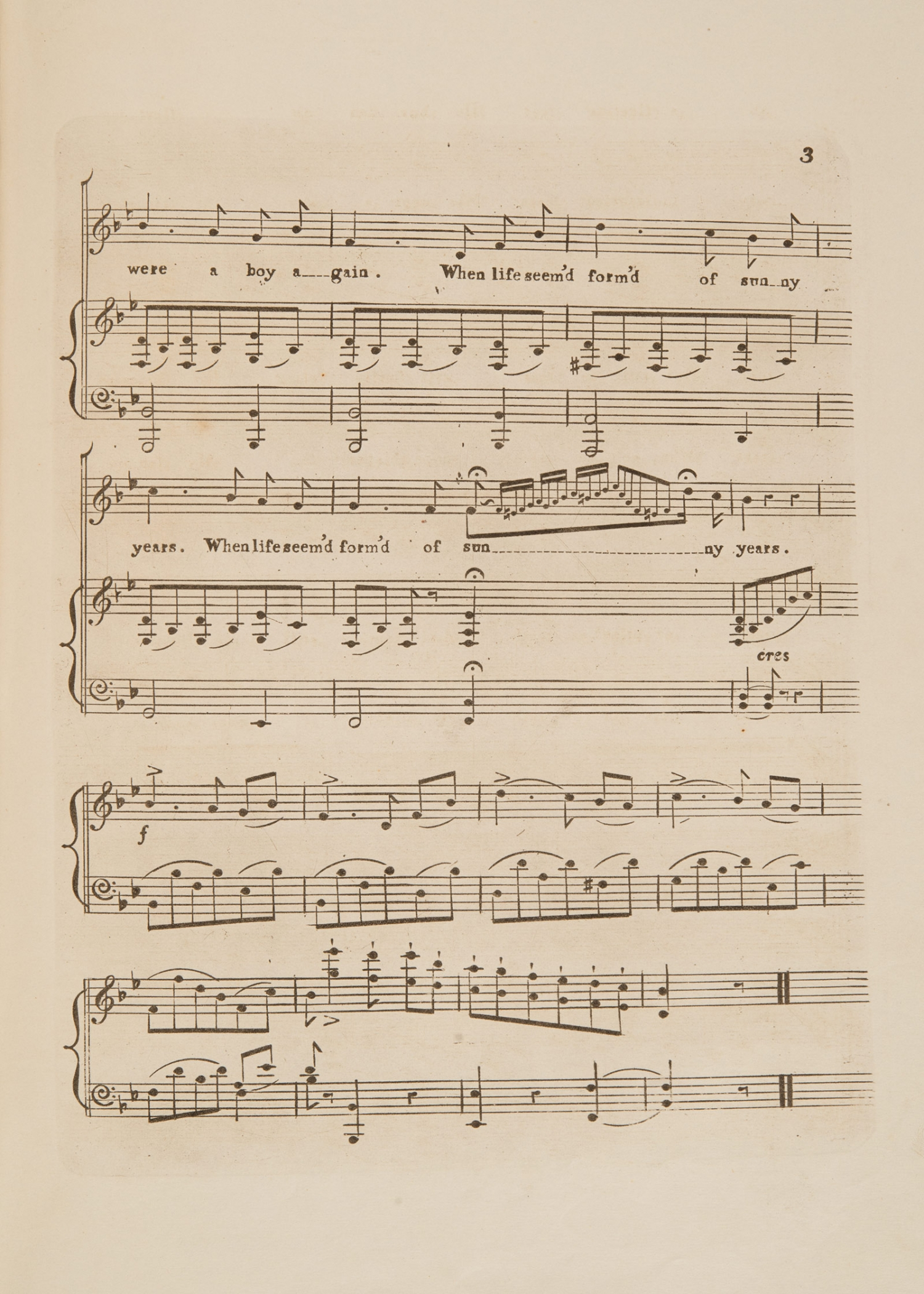 Sheet music, 'O, would I were a Boy again' by Frank Romer, page 3, published circa 1854