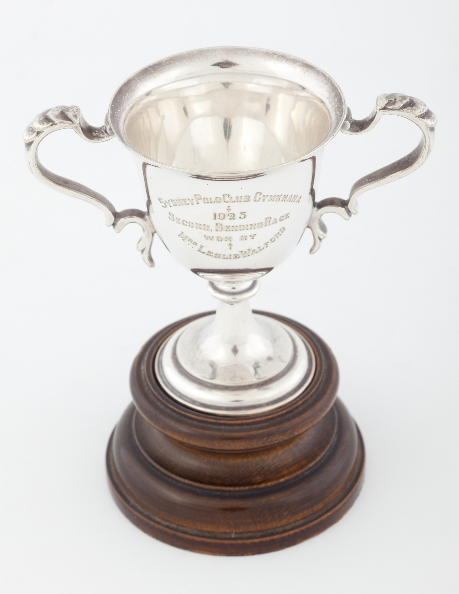 Trophy presented to Dora Walford for second prize in the Ladies Bending Race, Sydney Polo Club Gymkhana, June 1923