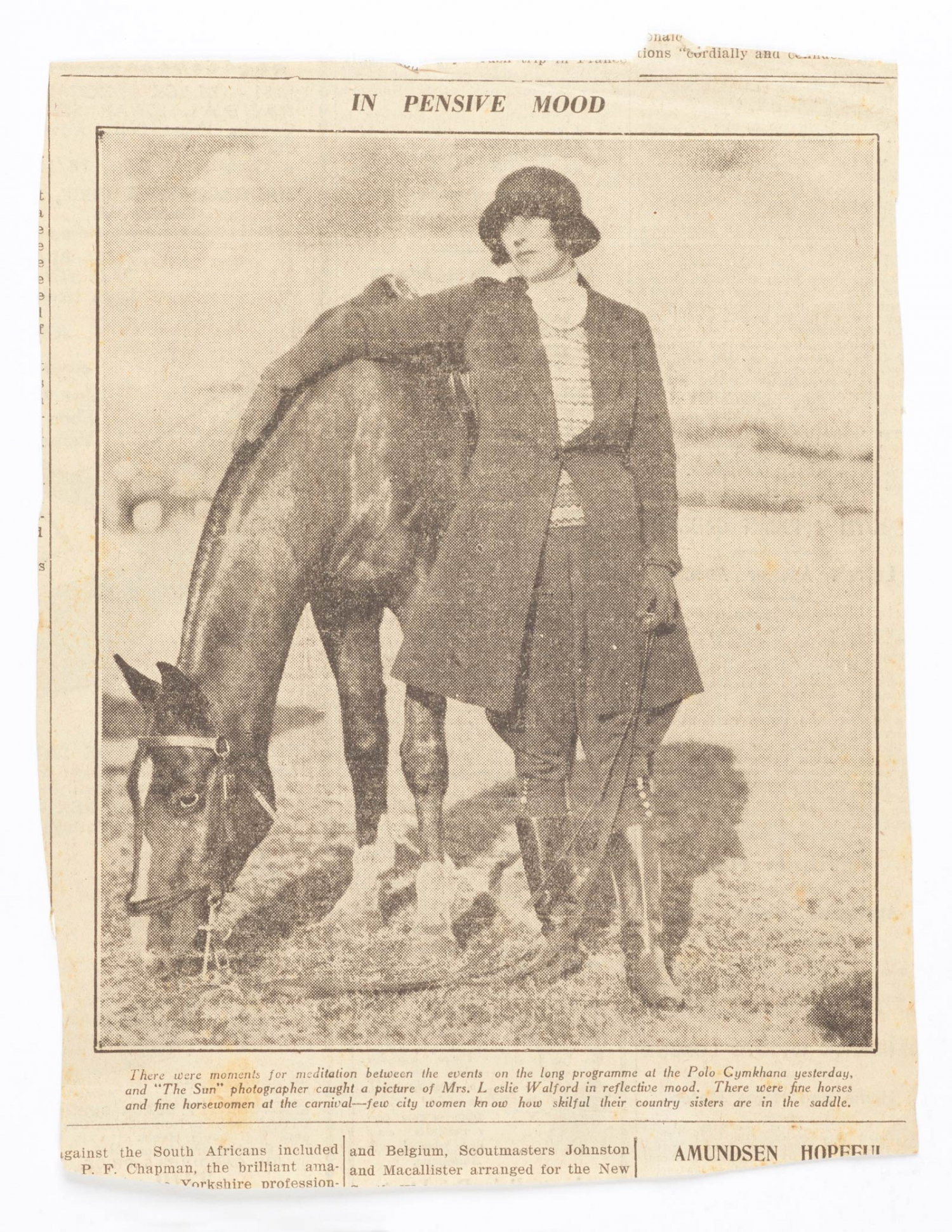 Newspaper clipping of Mrs Leslie Walford (Dora Walford) with a horse at a Polo Gymkhana, undated