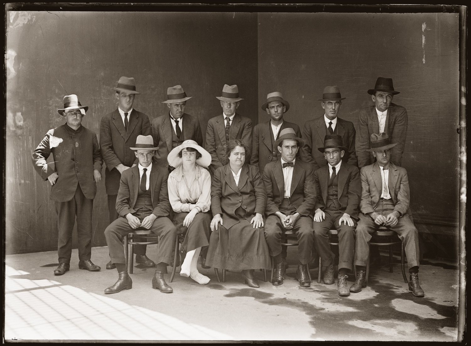 Special Photograph of group of police suspects, circa 25 January 1921, Central Police Station, Sydney