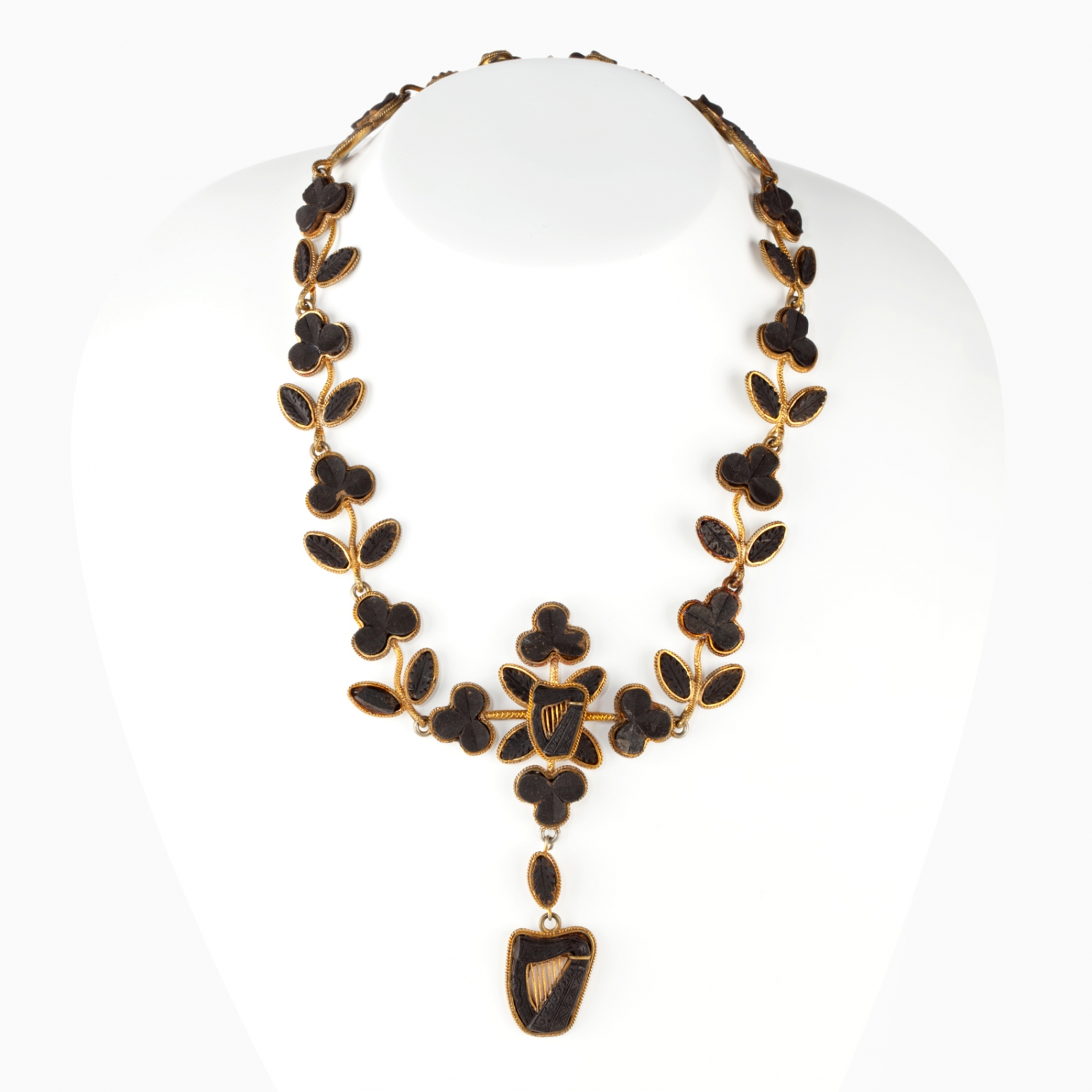 A gold and bog oak  necklace. Made in Ireland, late 1860s.