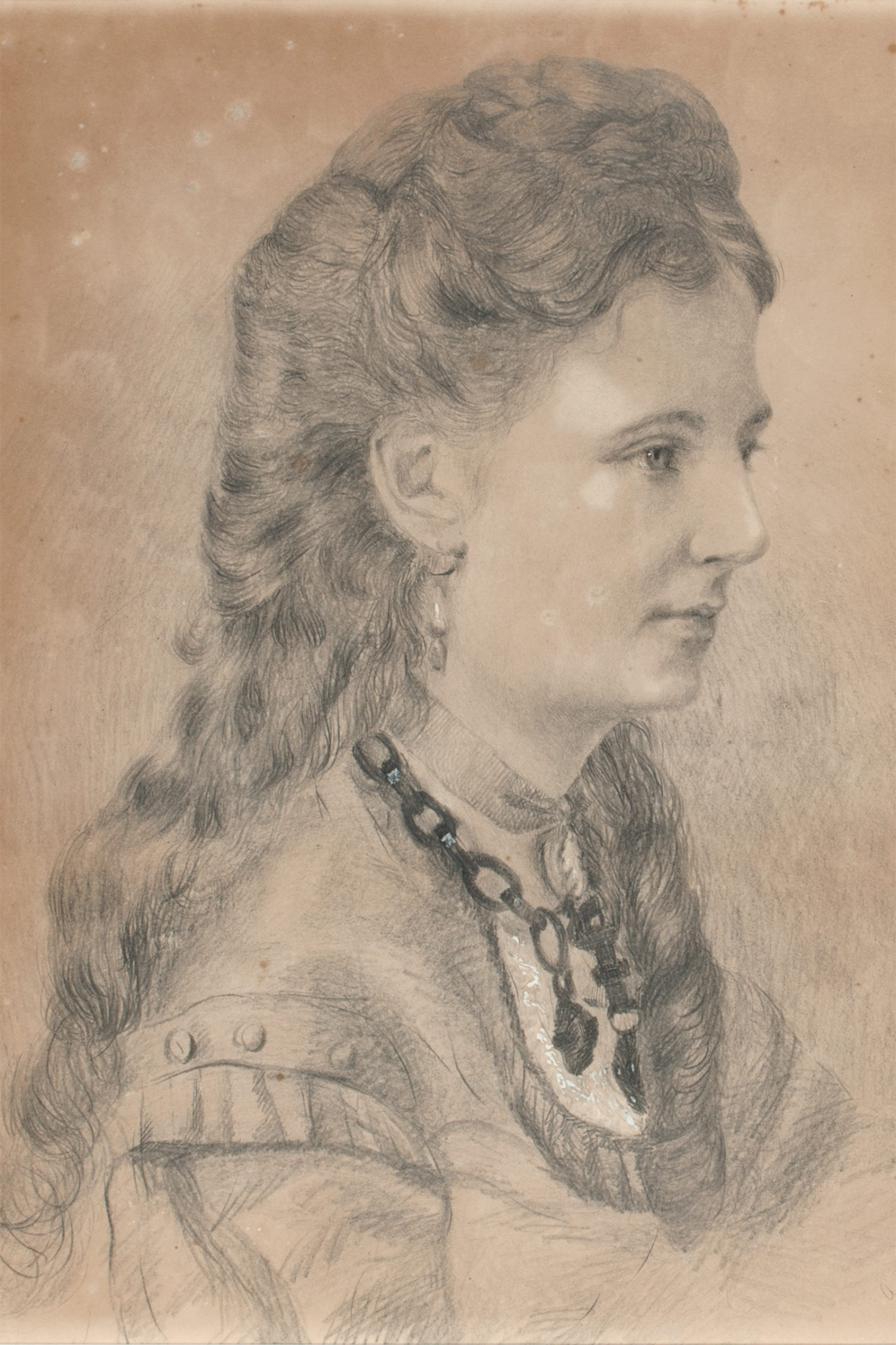 HR84/8-1:2. 1872. A large framed (-2) pencil portrait (-1) of Bessie Buchanan wearing a heavy ornate necklace (HR93/203).