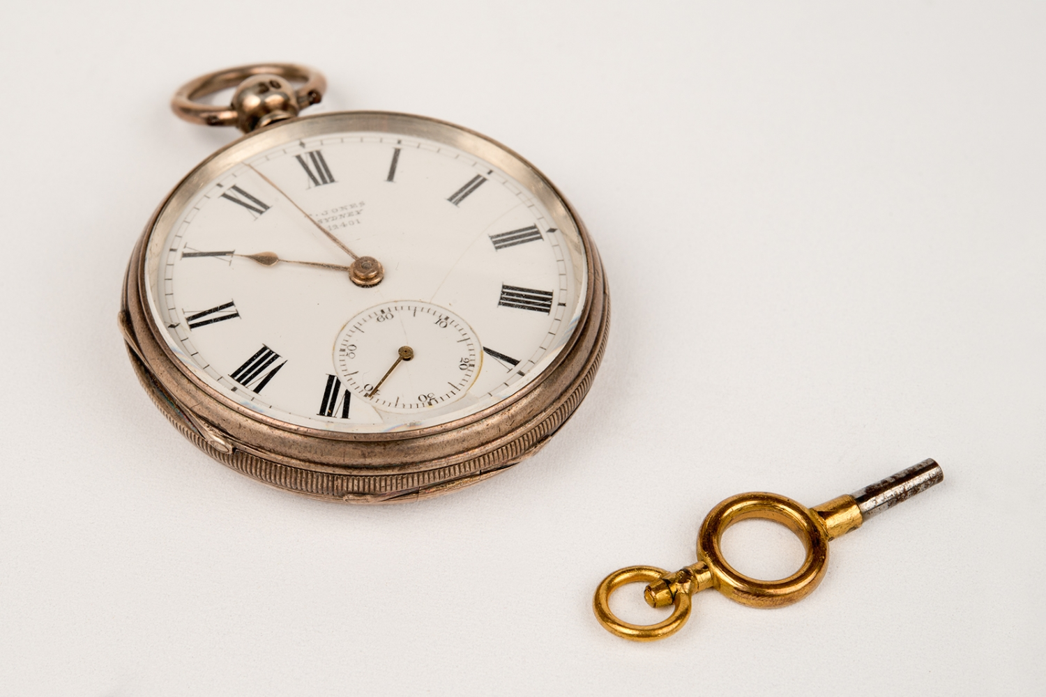 Open faced silver fob watch owned by Edwin Stephen Rouse