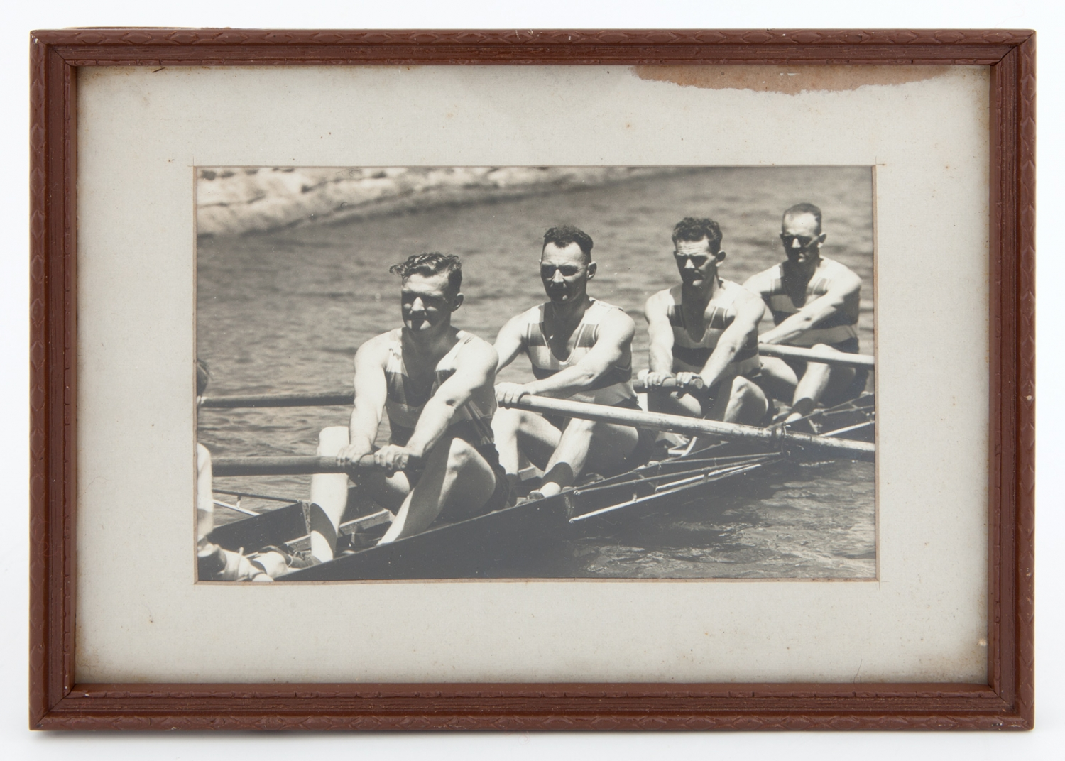 Framed black & white photograph of winning maiden fours team at NSW Police Rowing Club Regatta, March 1935 / [Sydney] Telegraph photograph