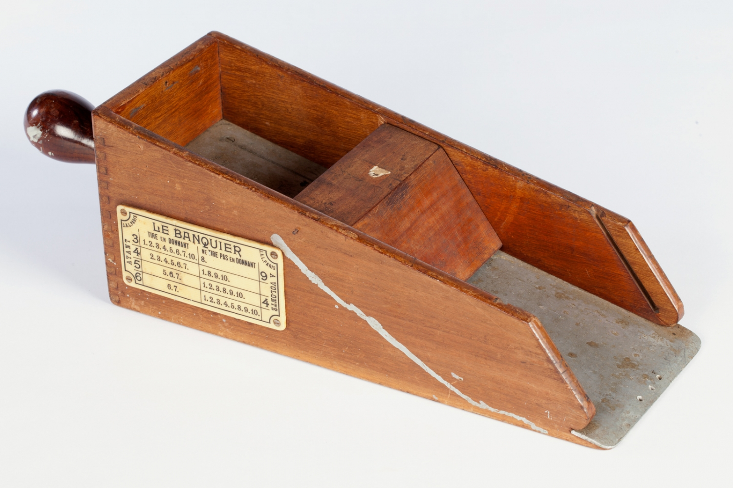 Wooden card shoe, early 20th century