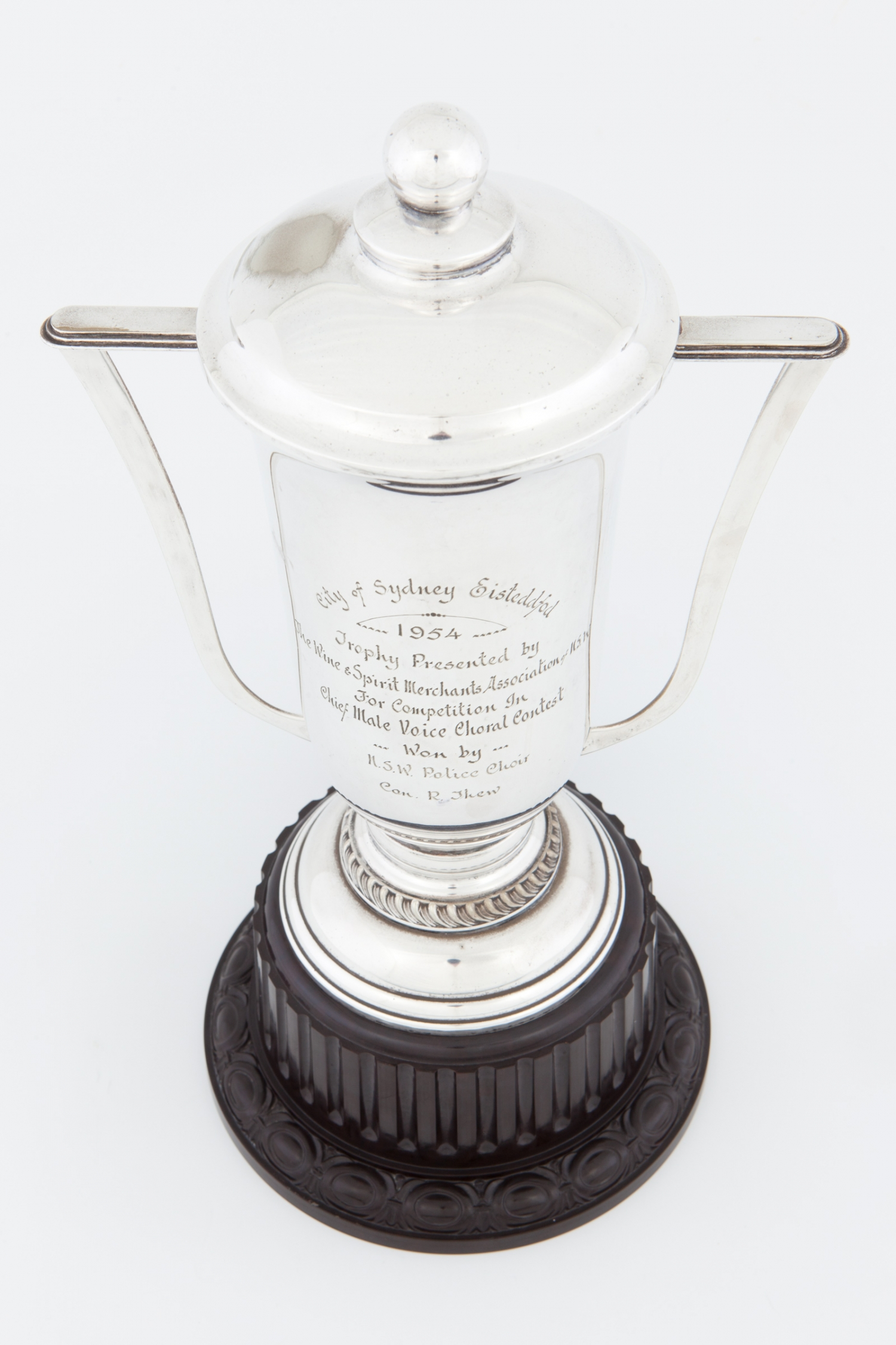 Trophy awarded to the NSW Police Choir at the City of Sydney Eisteddfod, 1954