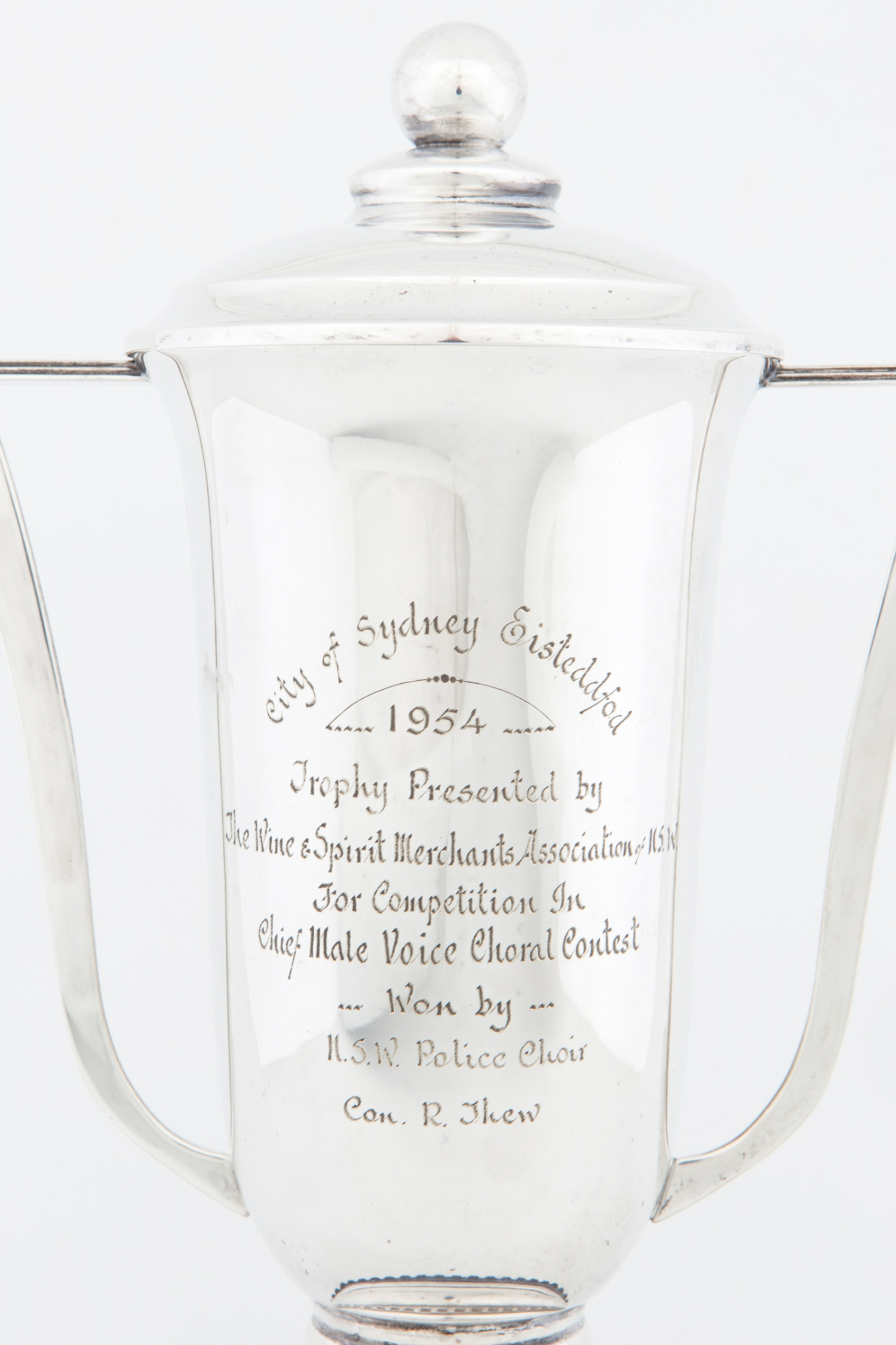 Trophy (detail) awarded to the NSW Police Choir at the City of Sydney Eisteddfod, 1954