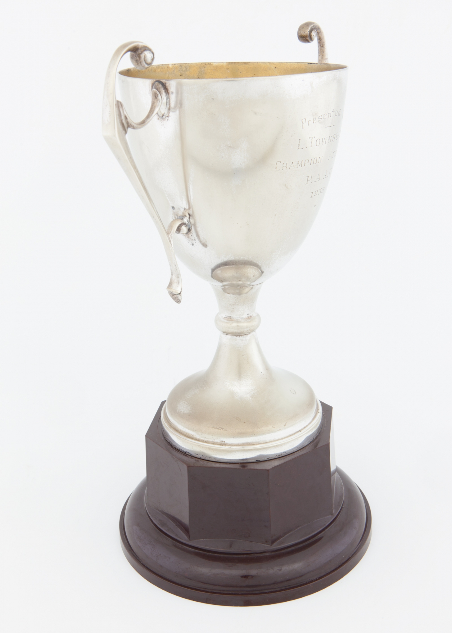 Trophy presented to L. Townsend, Champion Athlete, P.A.A.C., 1935
