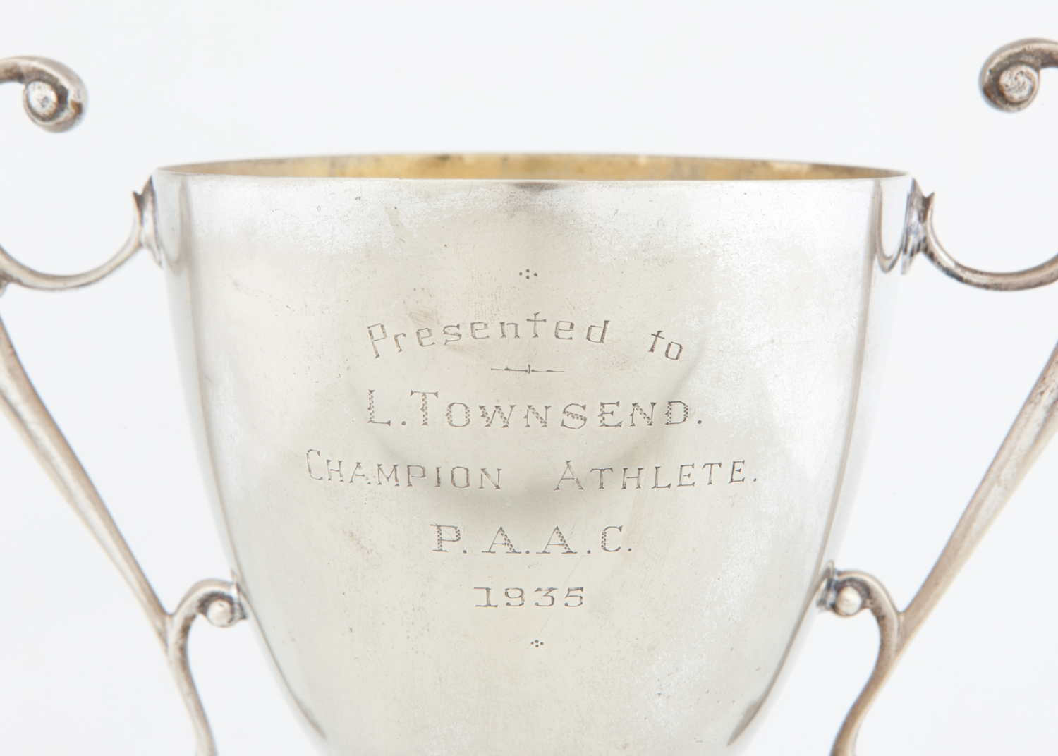 Trophy (detail) presented to L. Townsend, Champion Athlete, P.A.A.C., 1935