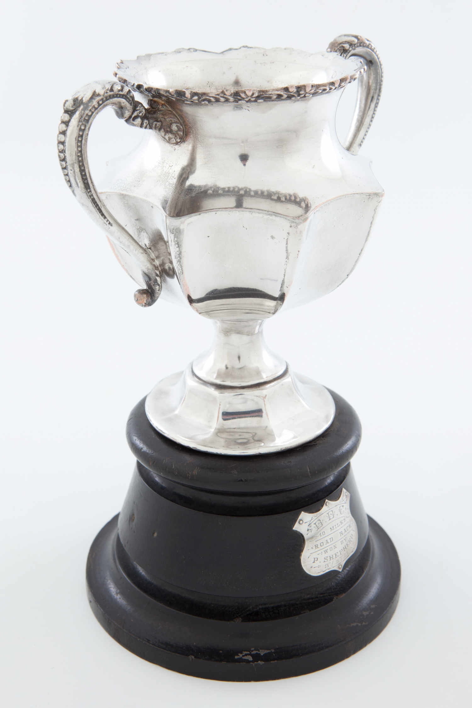 Silver plate cycling trophy awarded to Sergeant Percival Shepherd, 1905