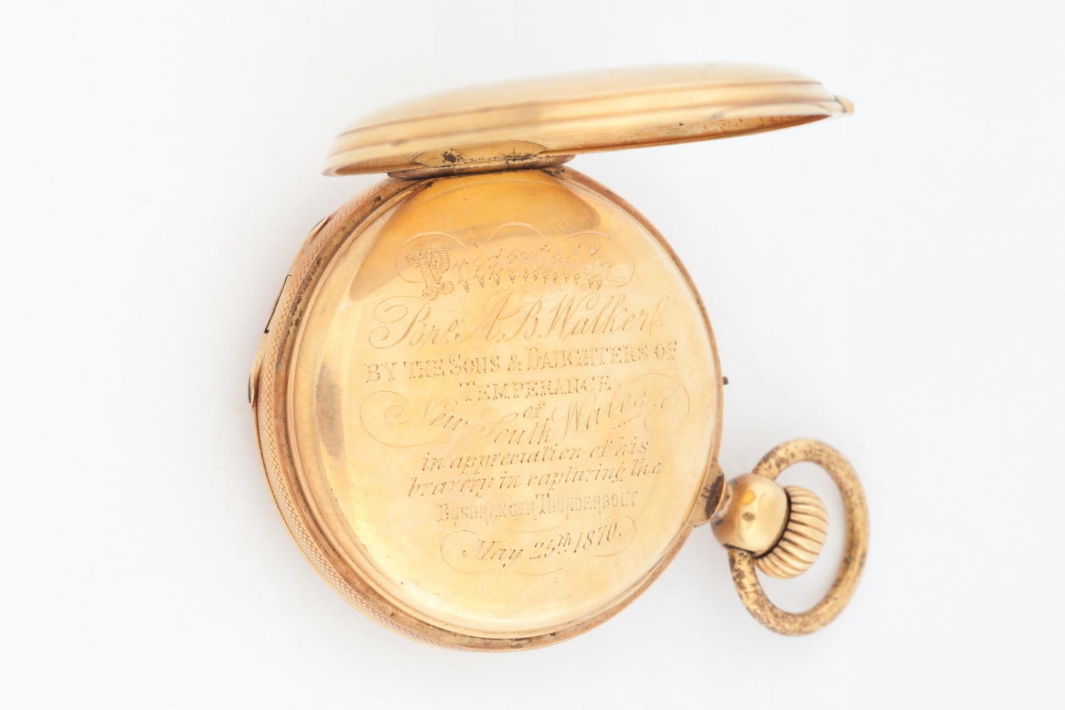 Pocket watch presented to Constable Alexander Walker by the Sons and Daughters of Temperance, 1870