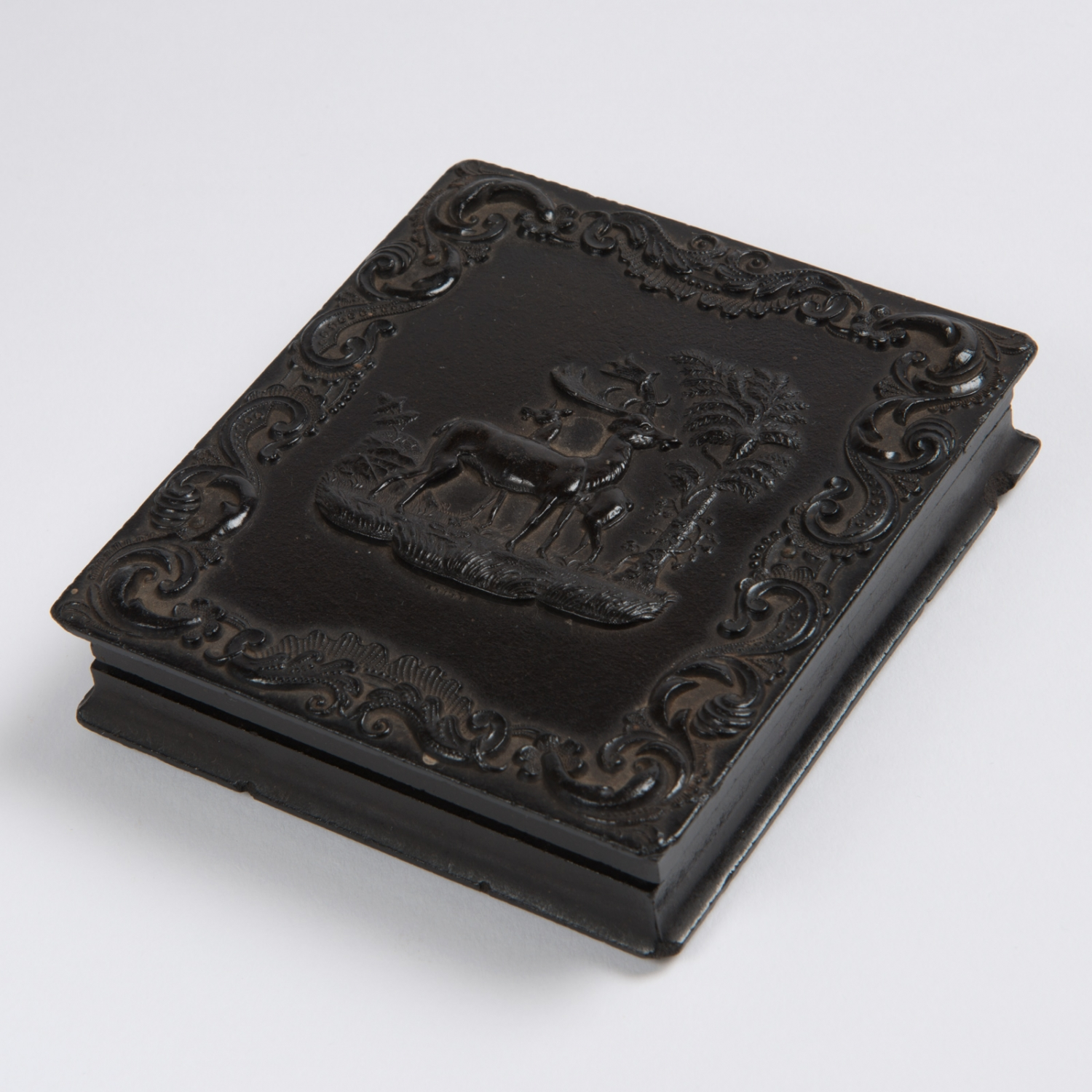 Decorative composition case containing an Ambrotype portrait of Jessie Catherine Thorburn and her daughter Mary Susan, circa 1862