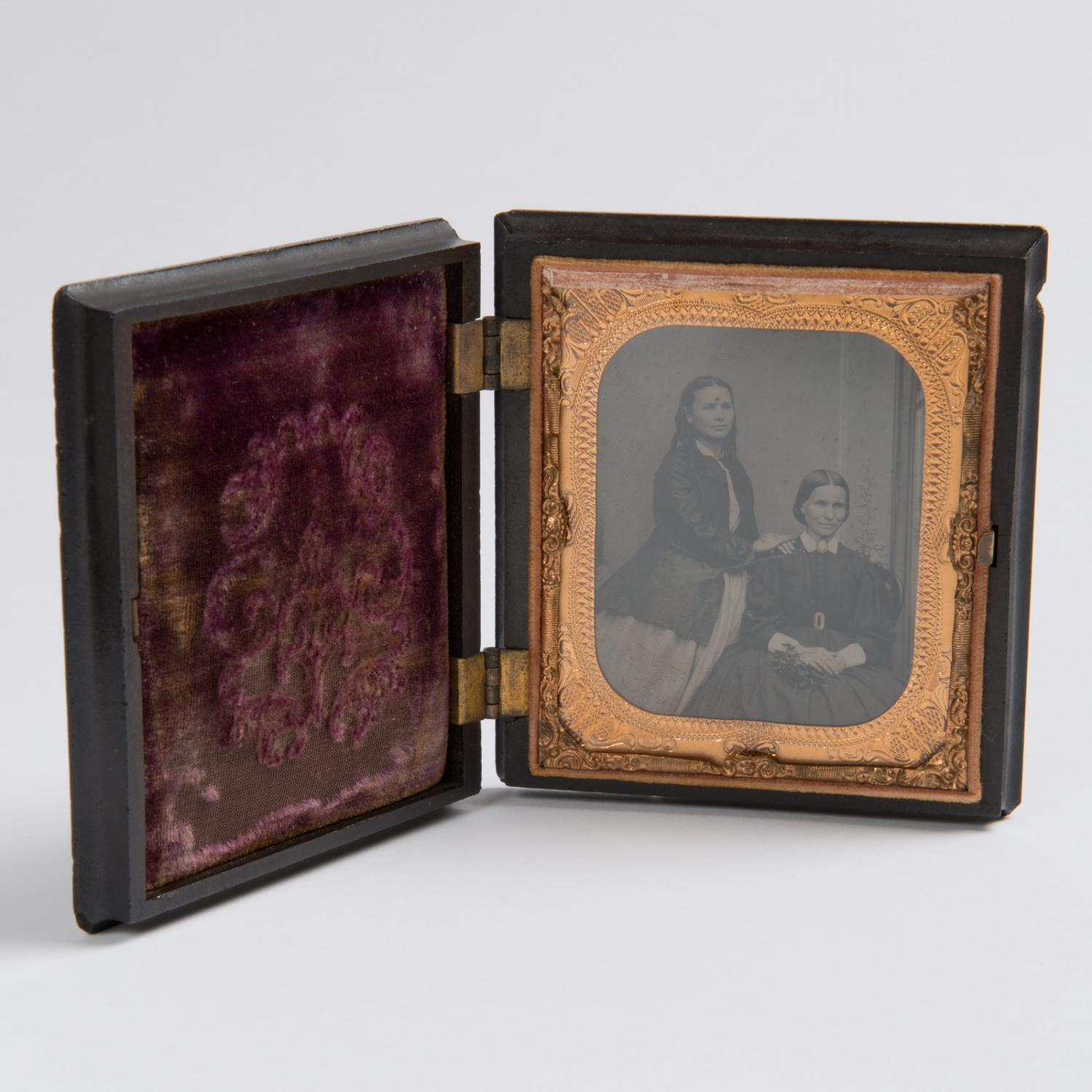Hand coloured Ambrotype portrait of Jessie Catherine Thorburn and her daughter Mary Susan, circa 1862