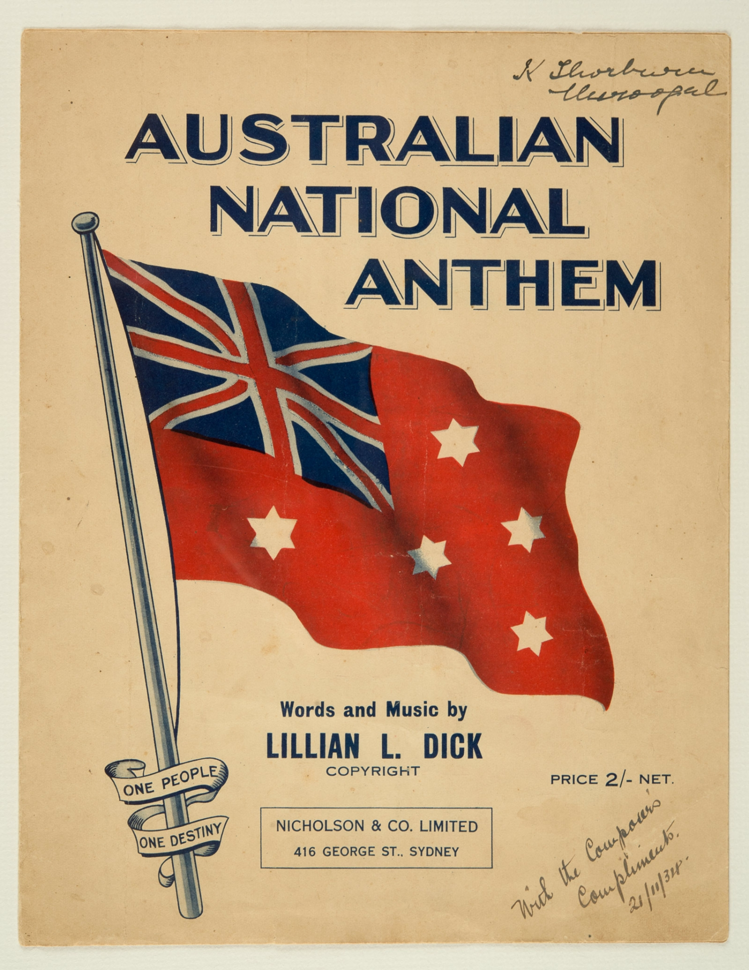 Front cover of sheet music,' Australian National Anthem', words and music by Lillian L. Dick, published 1934
