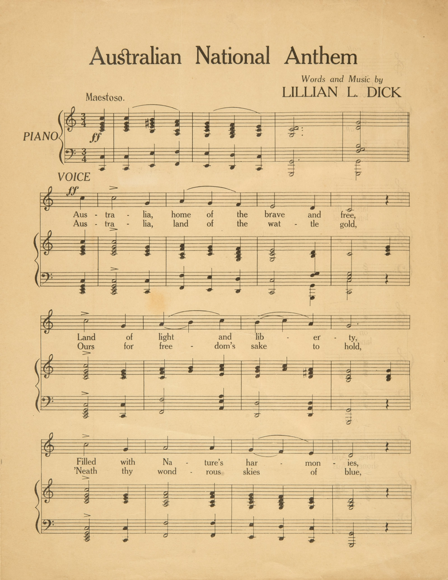 Sheet music,' Australian National Anthem', words and music by Lillian L. Dick, published 1934