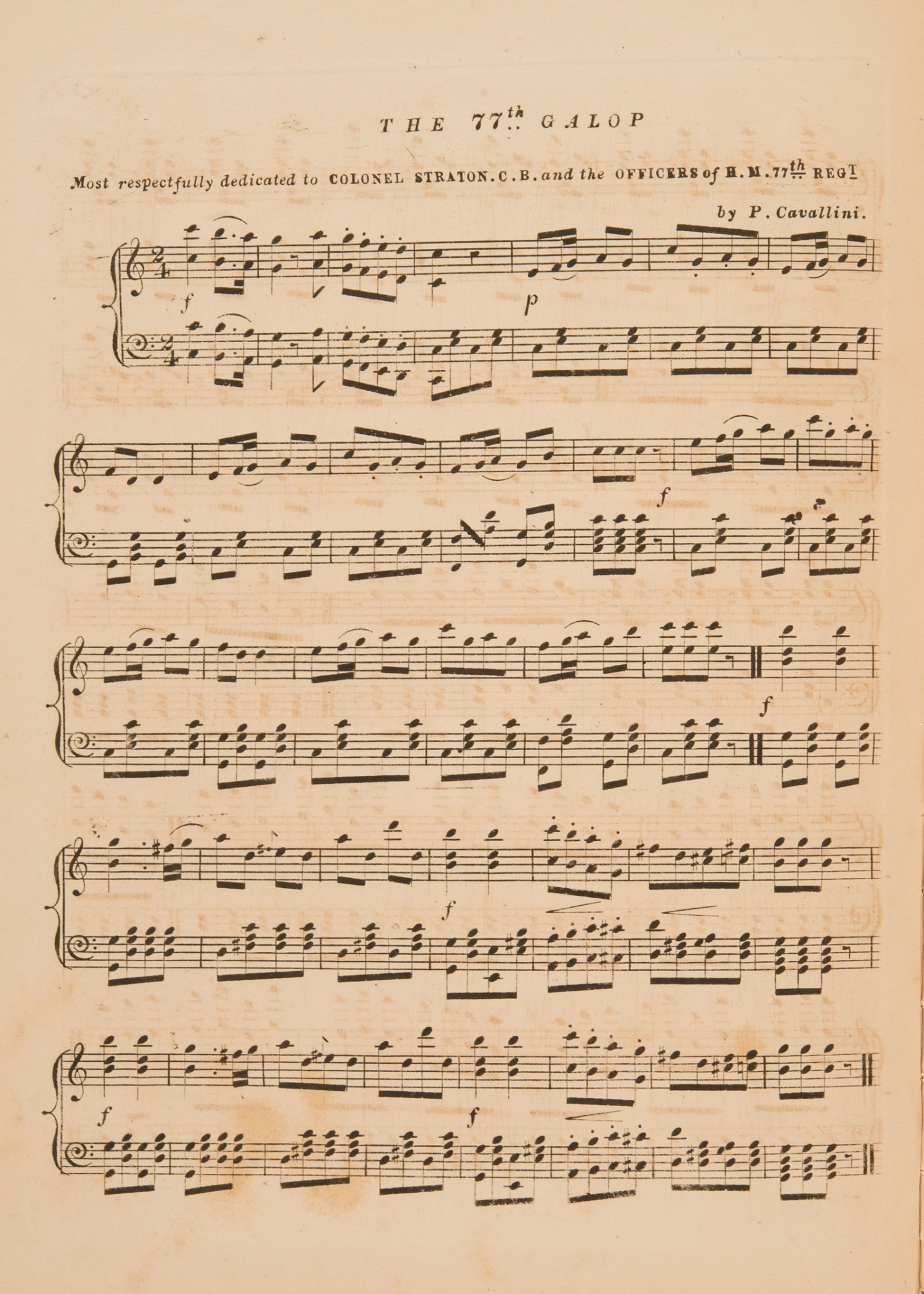 Sheet music, 'The 77th Galop', by P. Cavallini, page 1, published 1858
