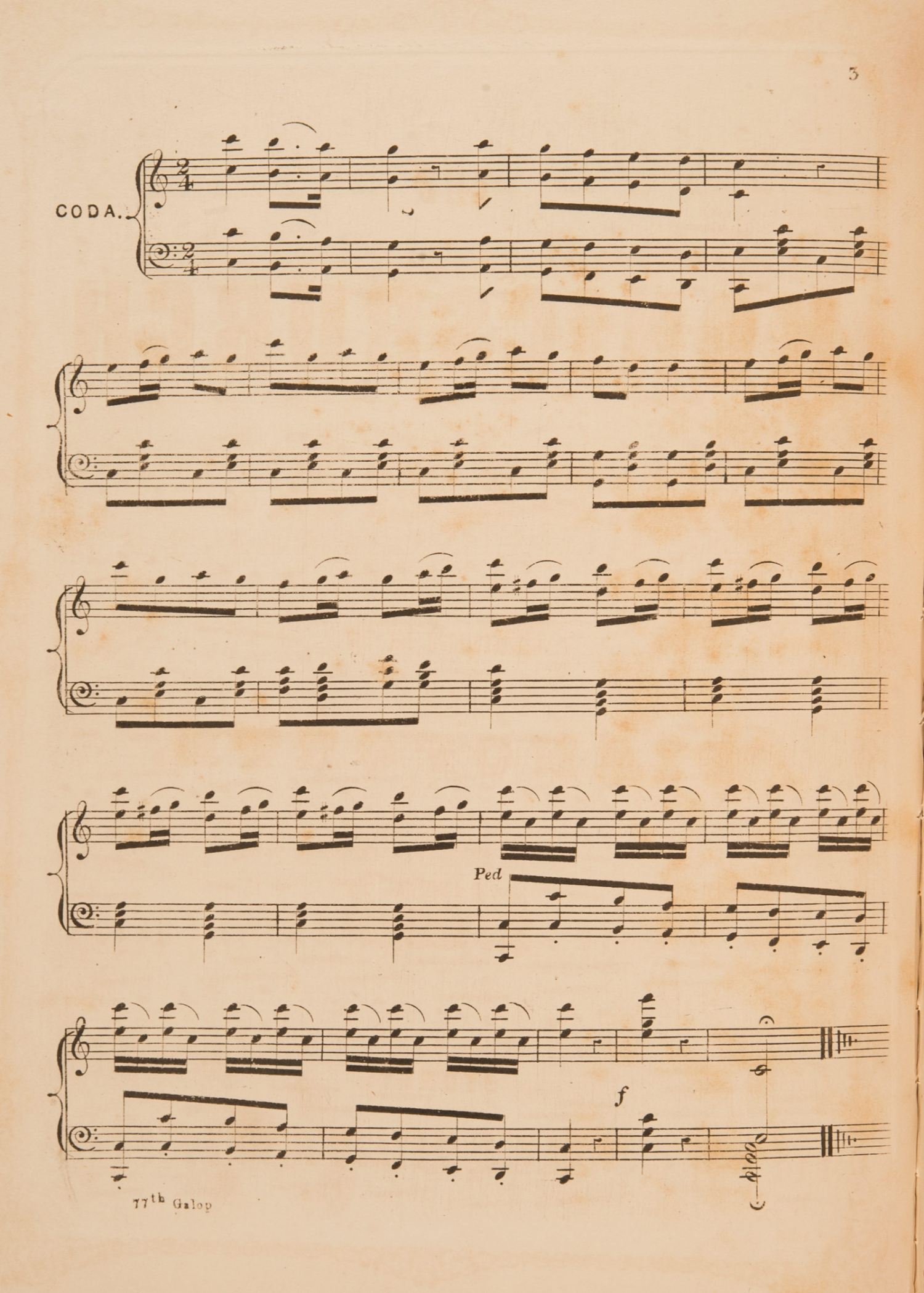 Sheet music, 'The 77th Galop', by P. Cavallini, page 3, published 1858