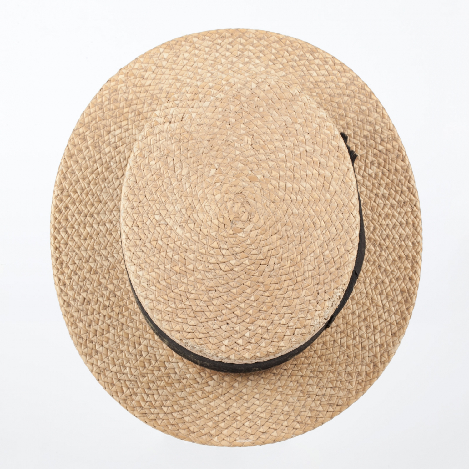 Plaited straw boater hat with a black faille ribbon