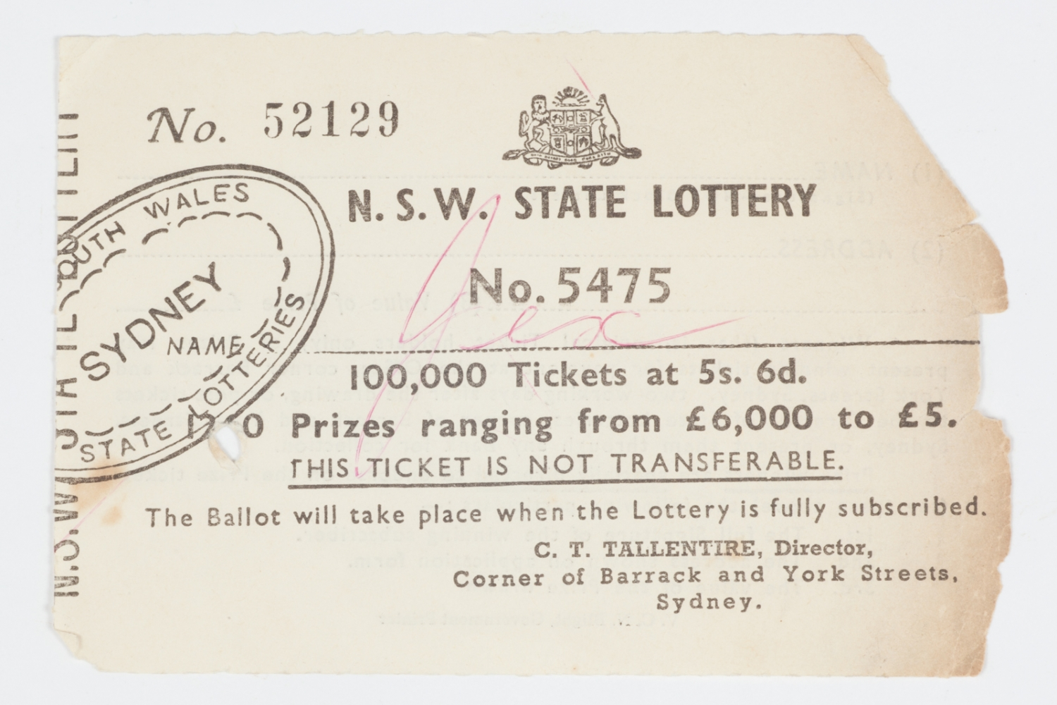 Ticket for the NSW State Lottery, 1960s-1970s.