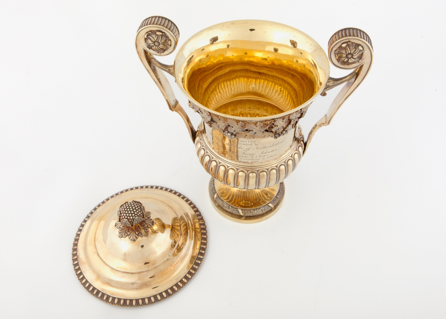 Urn shaped silver gilt cup presented to Lieutenant Colonel George Johnston, 1814