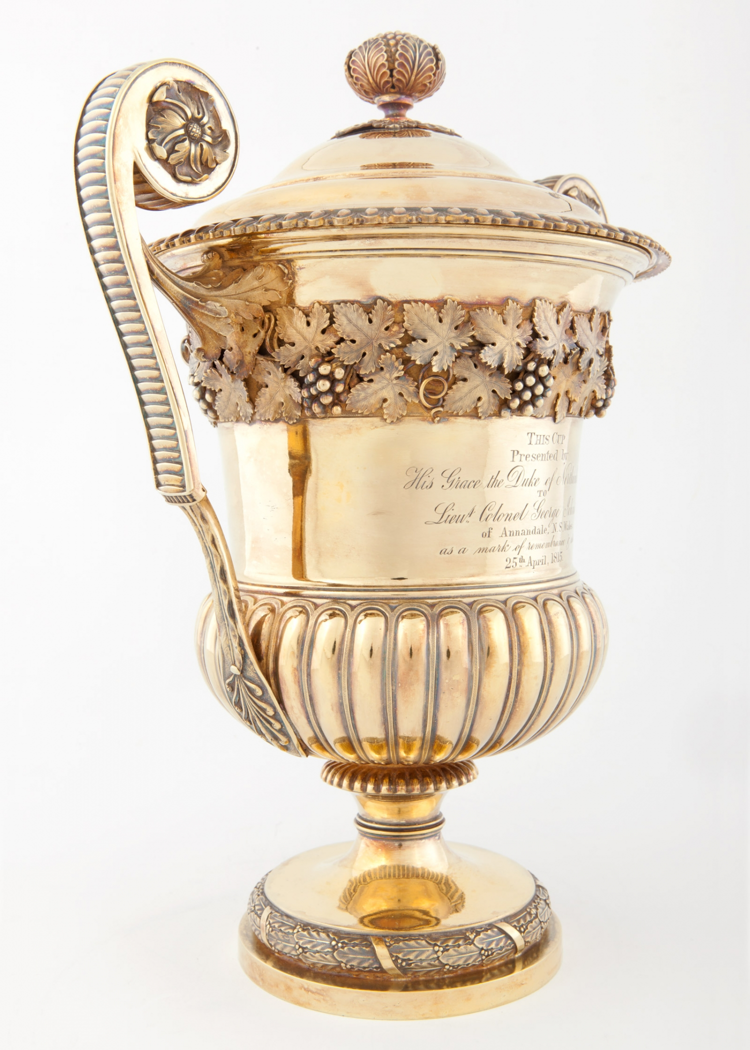 Urn shaped silver gilt cup (detail) presented to Lieutenant Colonel George Johnston, 1814