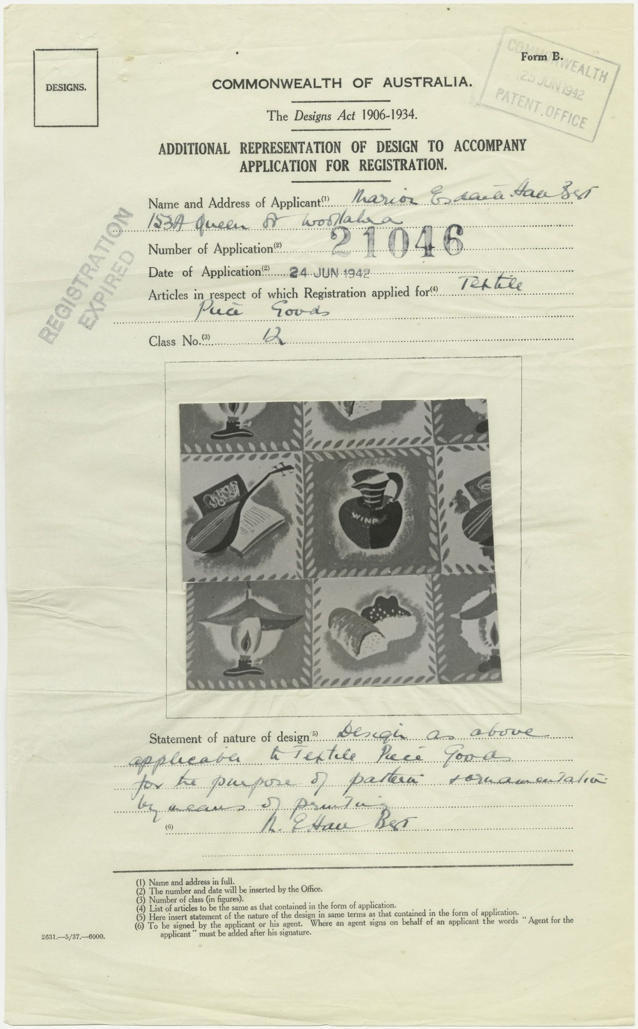 Registration of an Elaine Haxton textile design for Marion Best Fabrics
