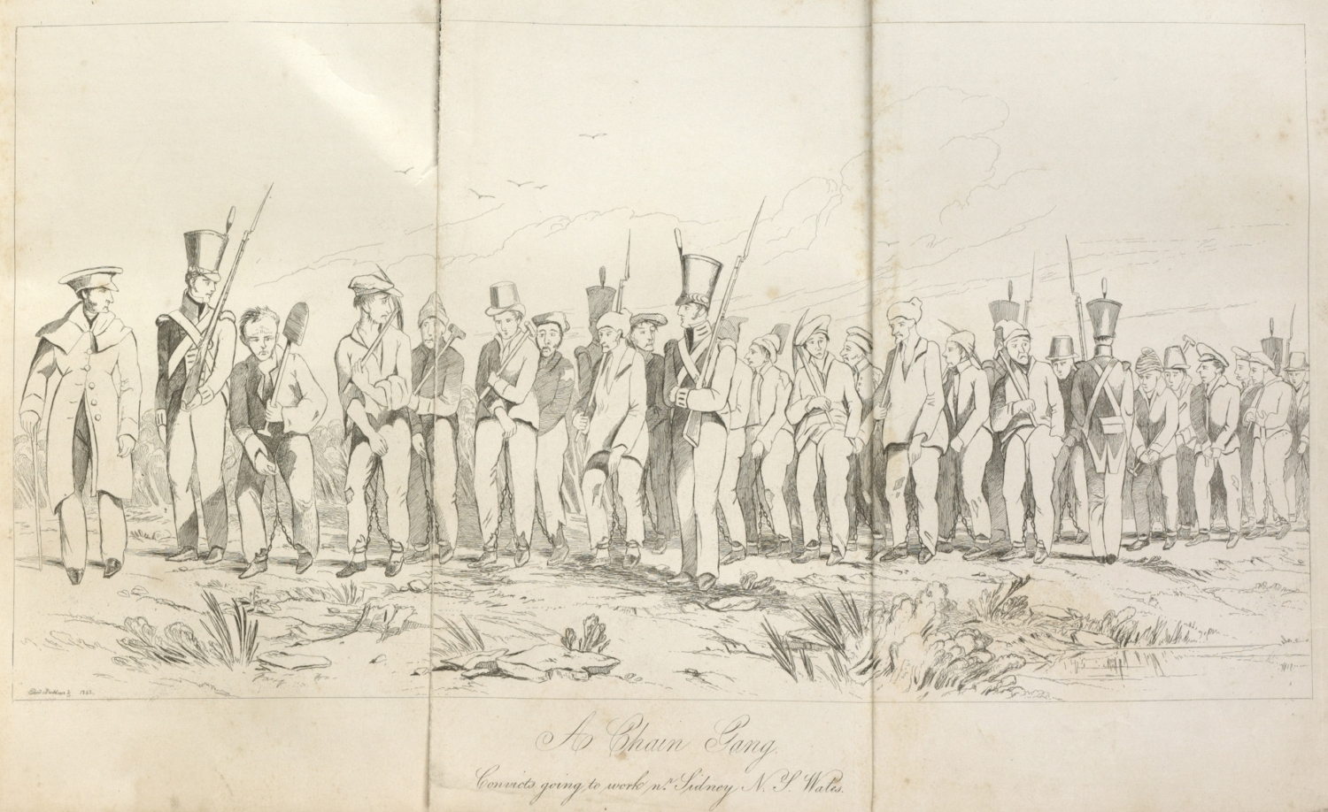 Illustration of group of men on chain gang.
