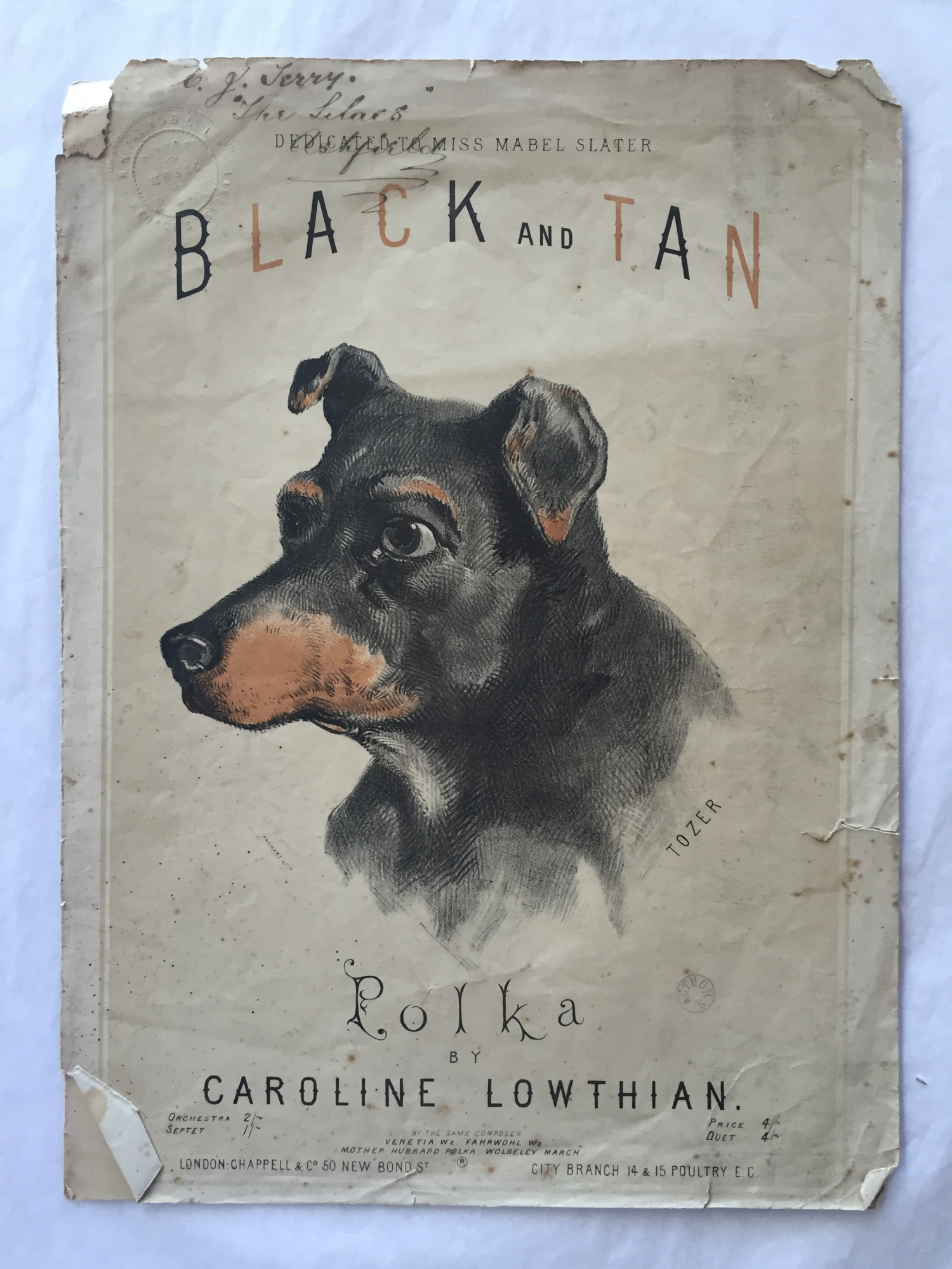 Illustration of black and tan dog's head with name of musical composition.
