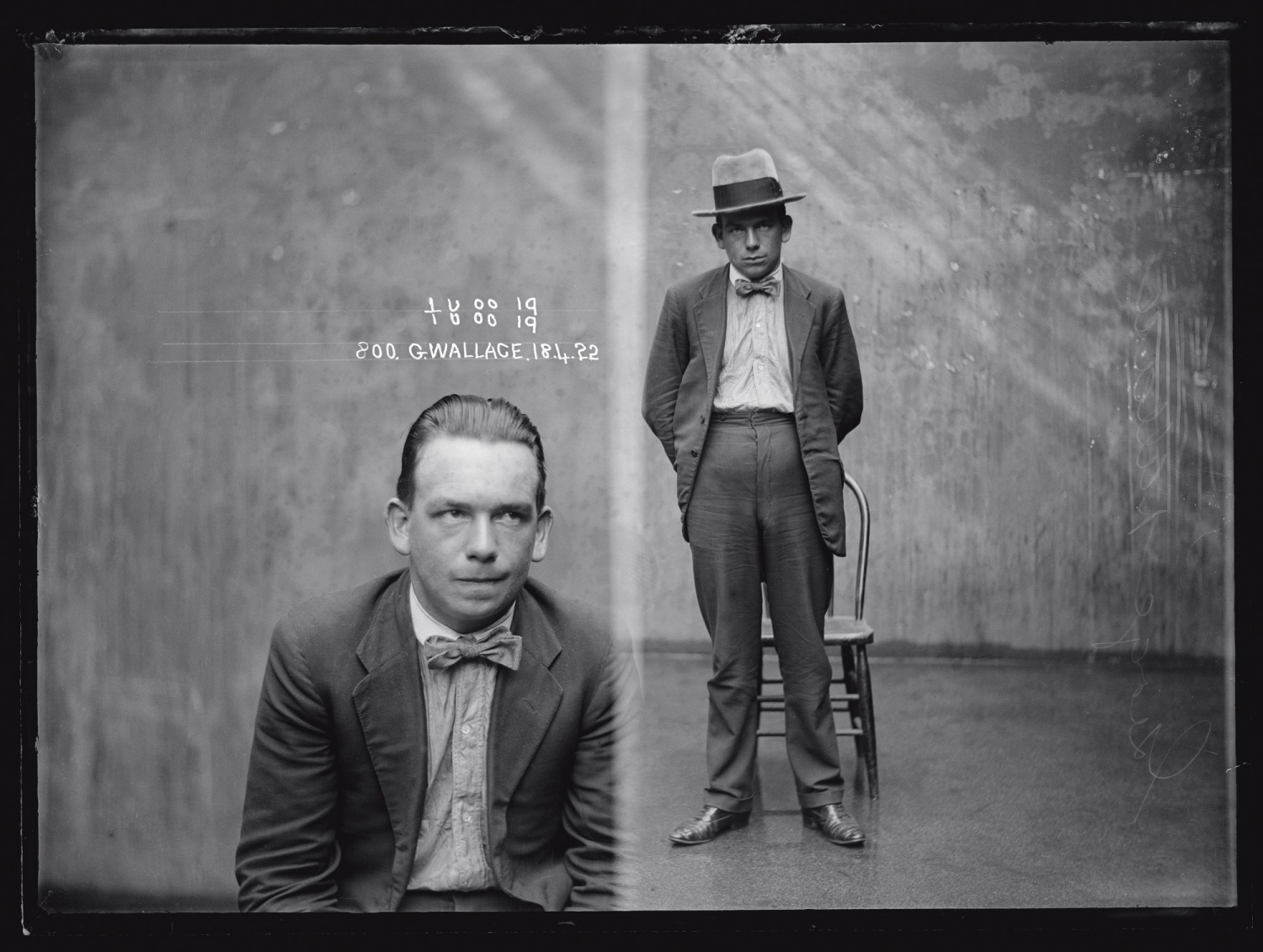 Black & white dual mugshot, with man seated (left) and standng (right), with inscription.