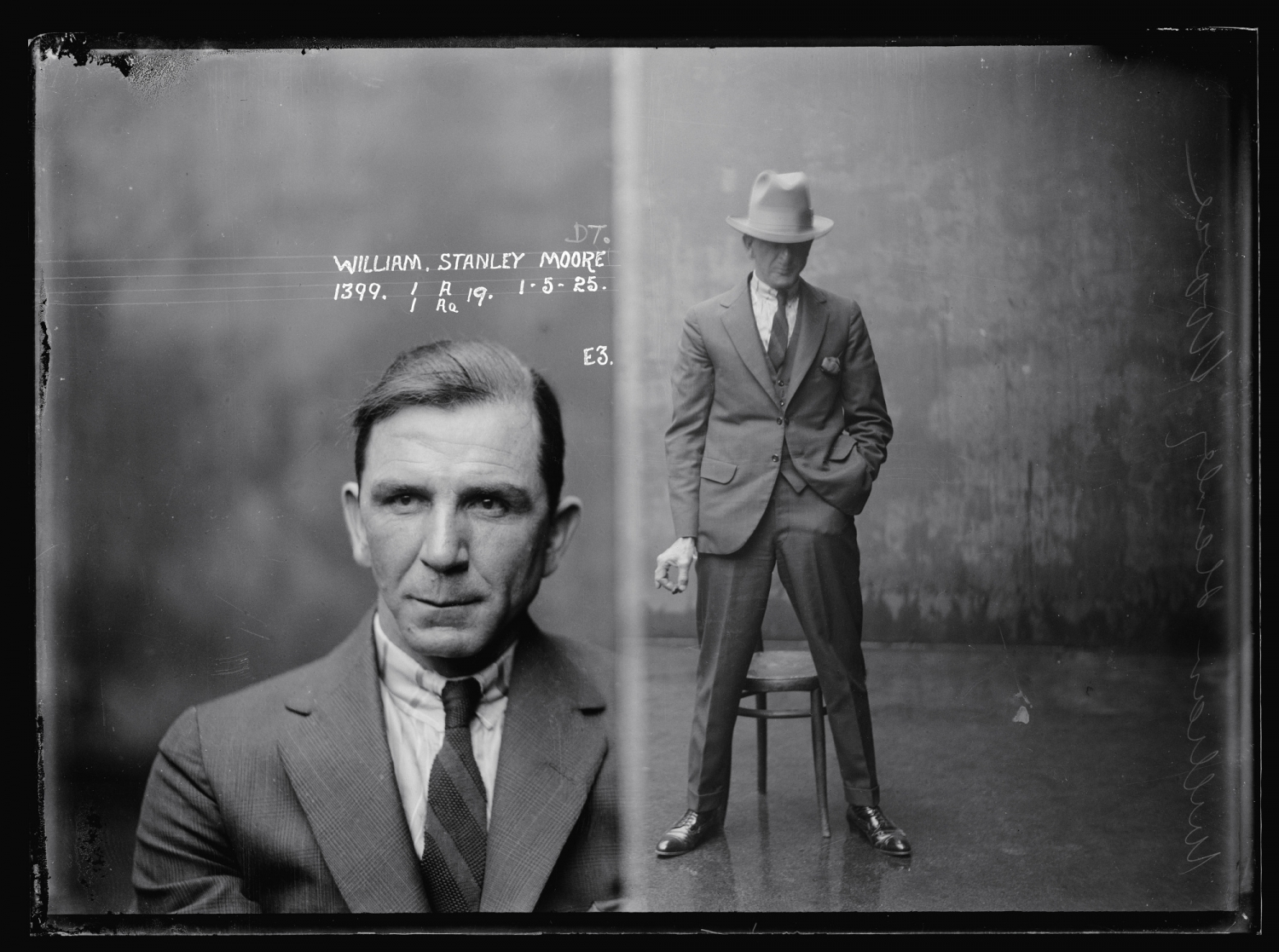 Dual black and white mugshot, man seated, and man standing with hat on.