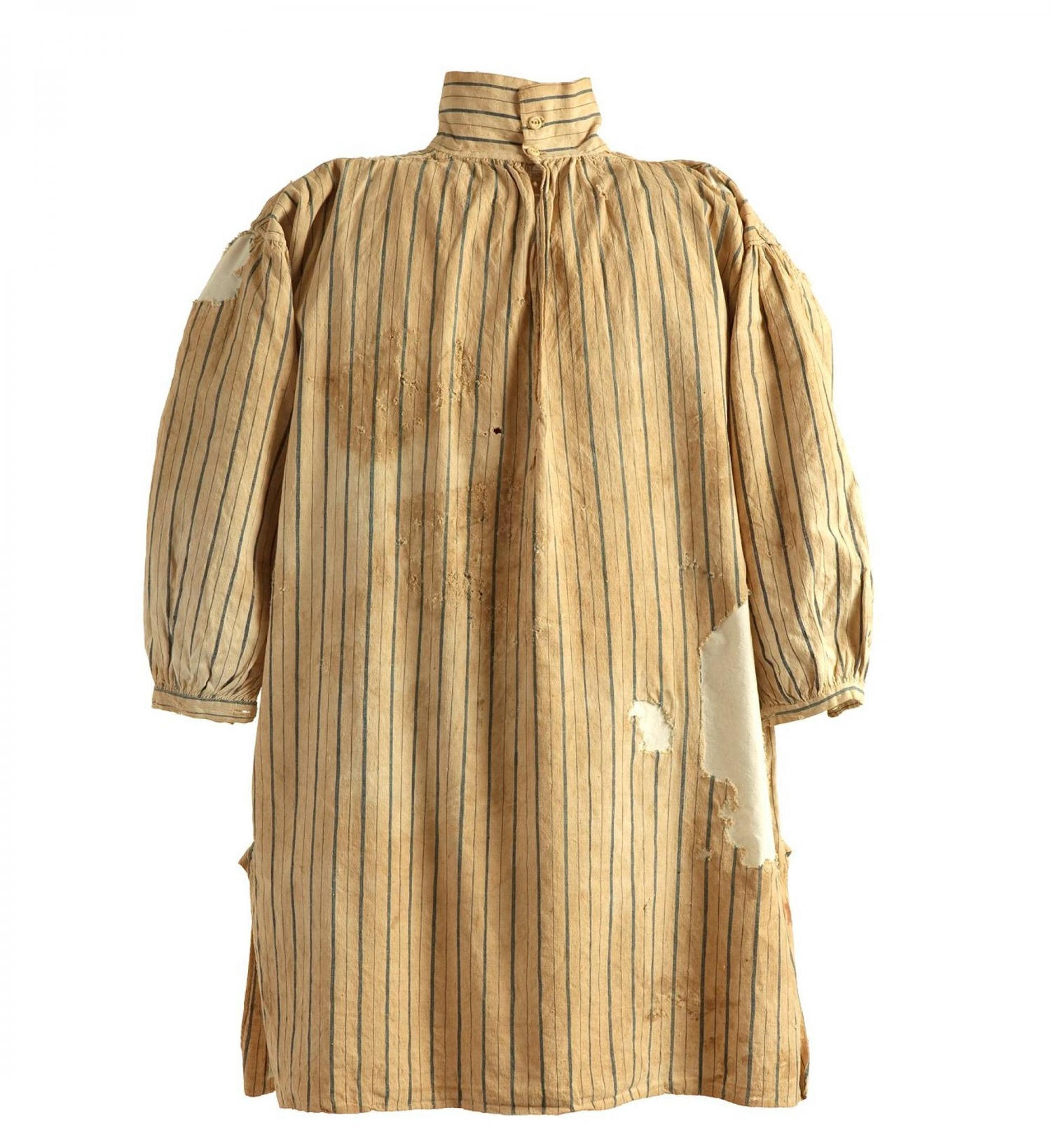 Old and faded blue and white striped cotton shirt