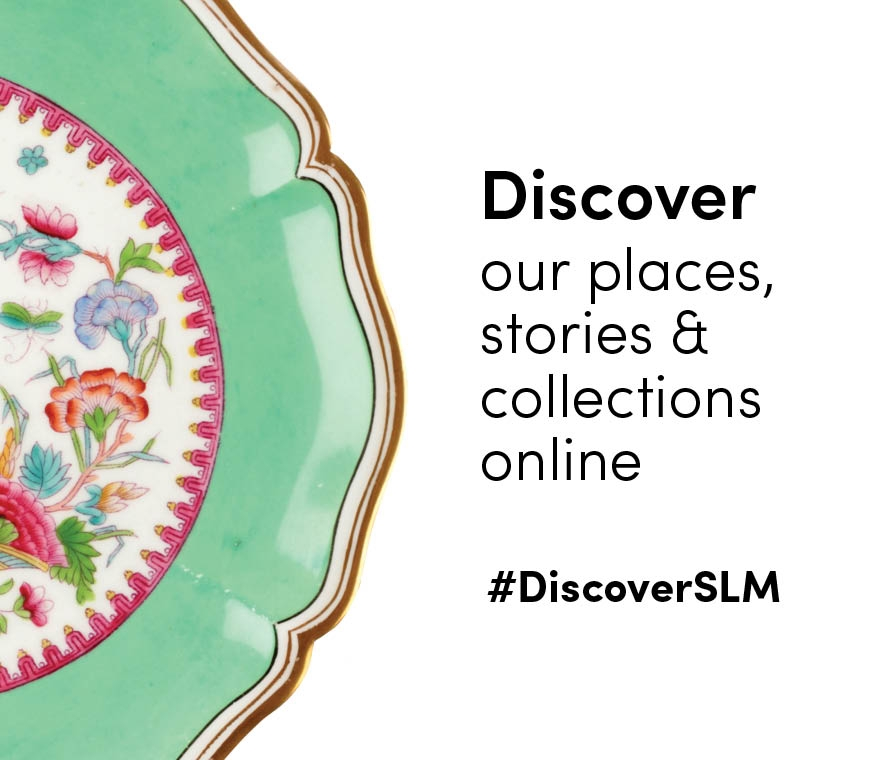 Porcelain plate with text overlay linking to Discover SLM page.