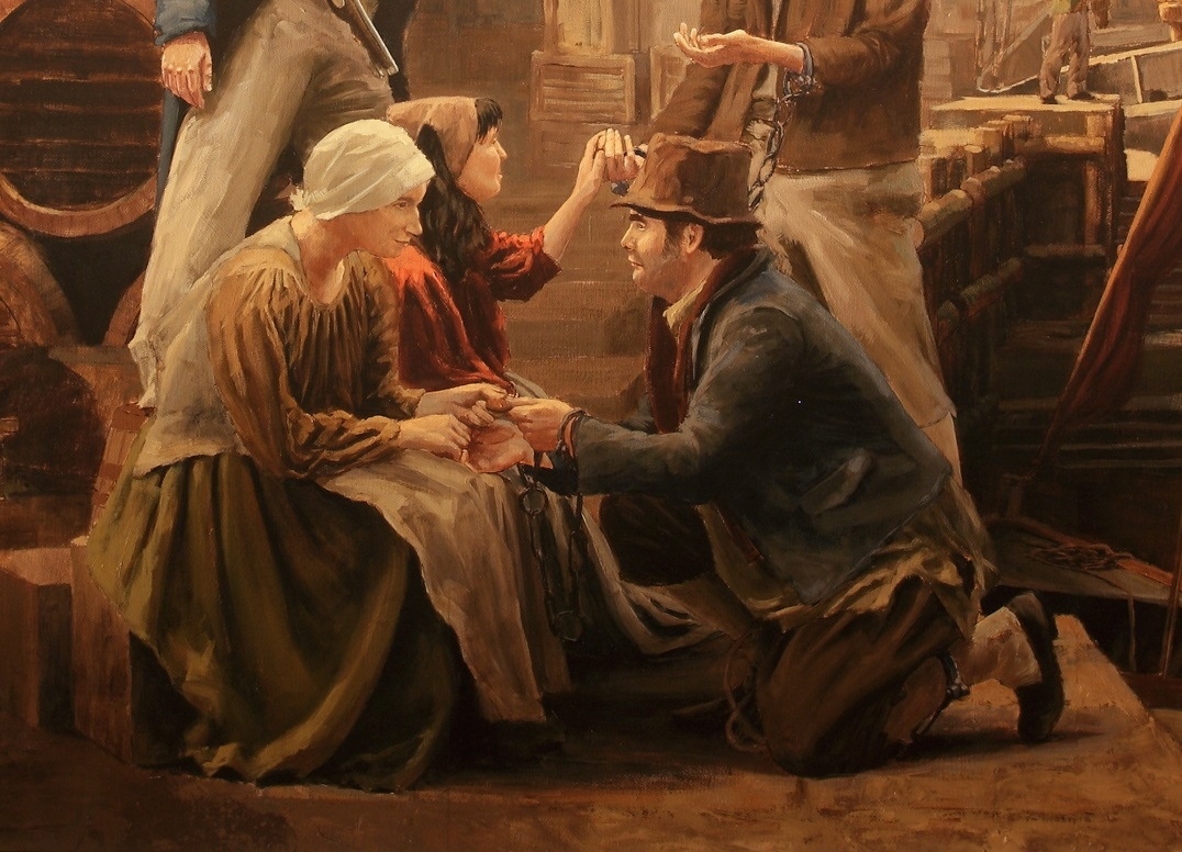 Painting depicting male and female clasping hands in scene of farewell.