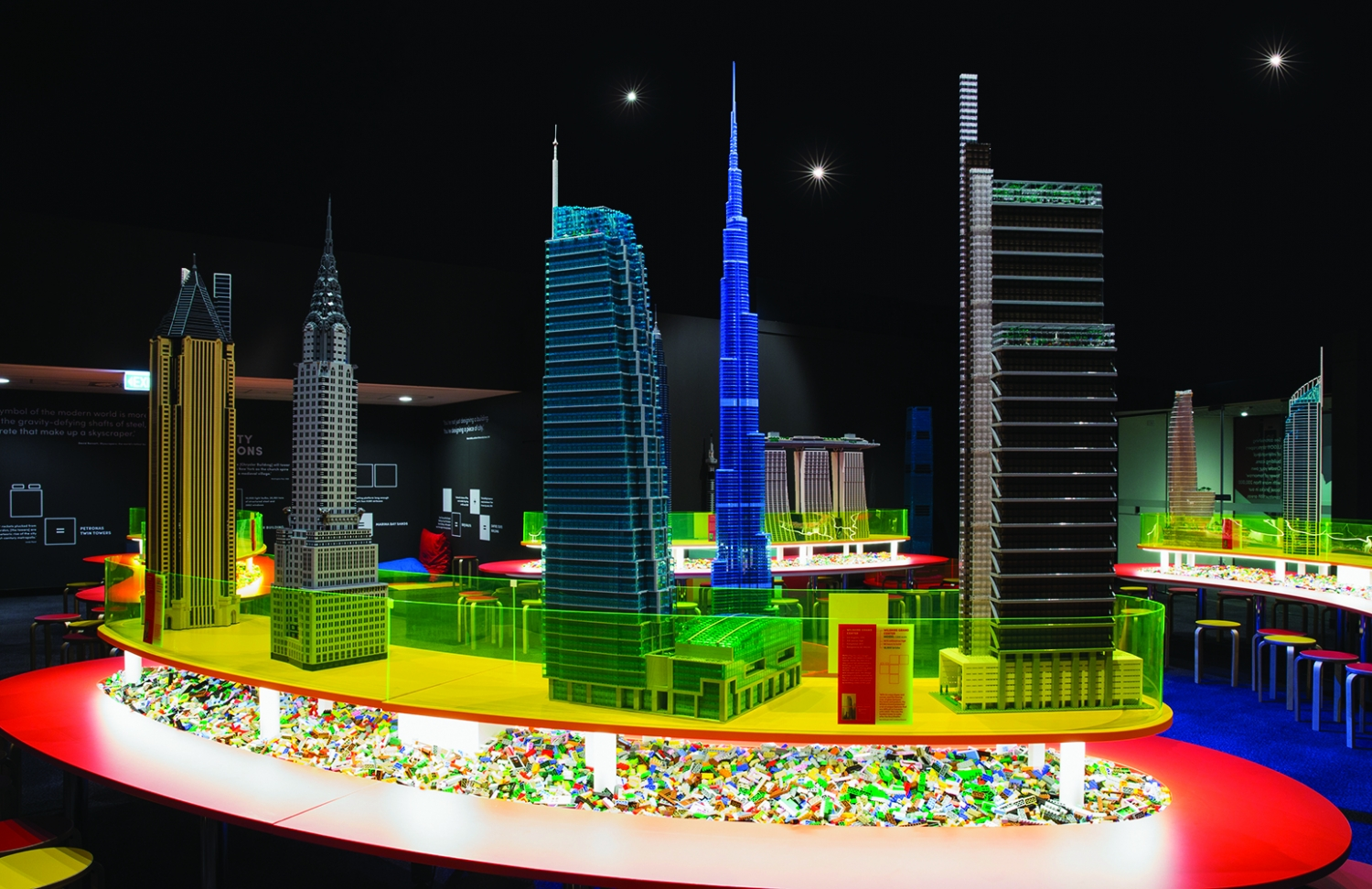 Display of building models created in LEGO bricks.