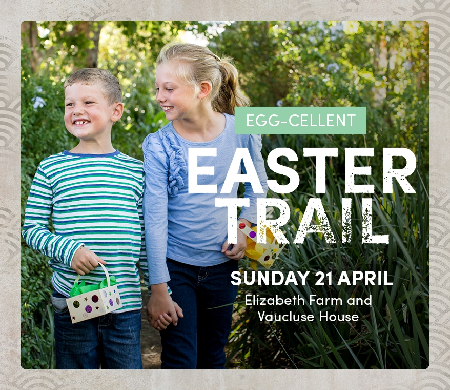 Two girls in garden setting with text overlay promoting Easter Trails.