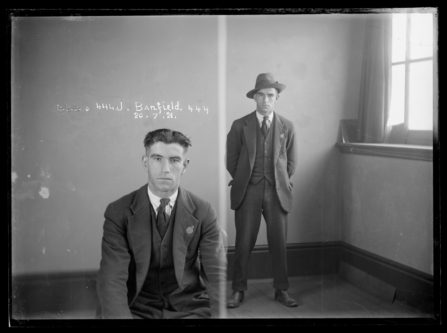 Two photos side by side, first showing seated man, second showing man standing, with hat on.