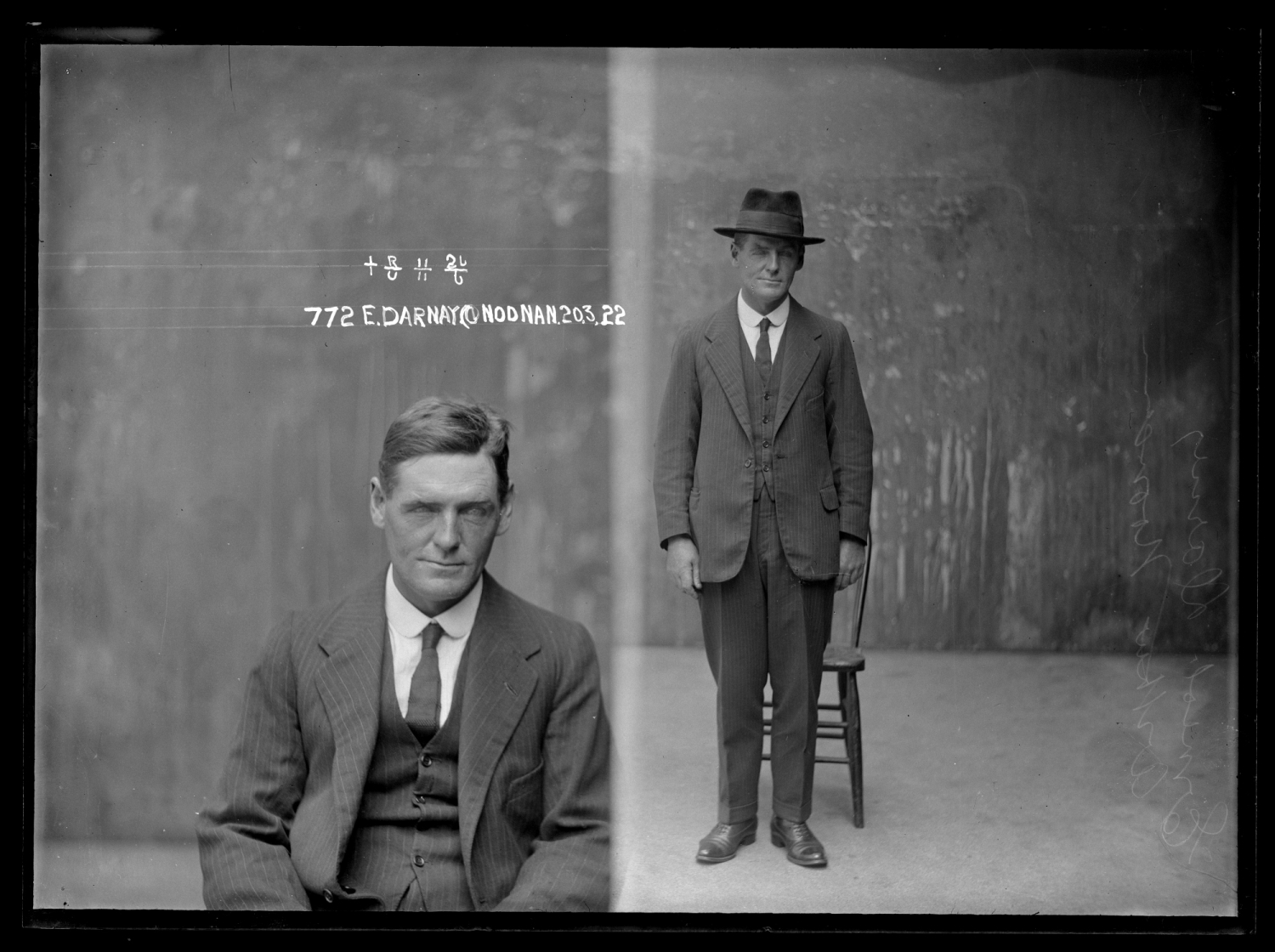 Two photos side by side; man seated and man standing, with hat on.