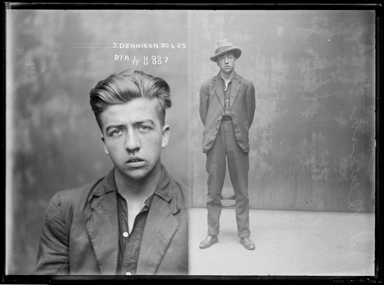 Jack Dennison, special photograph number 27a, 30th April 1925, probably Central Police Station, Sydney