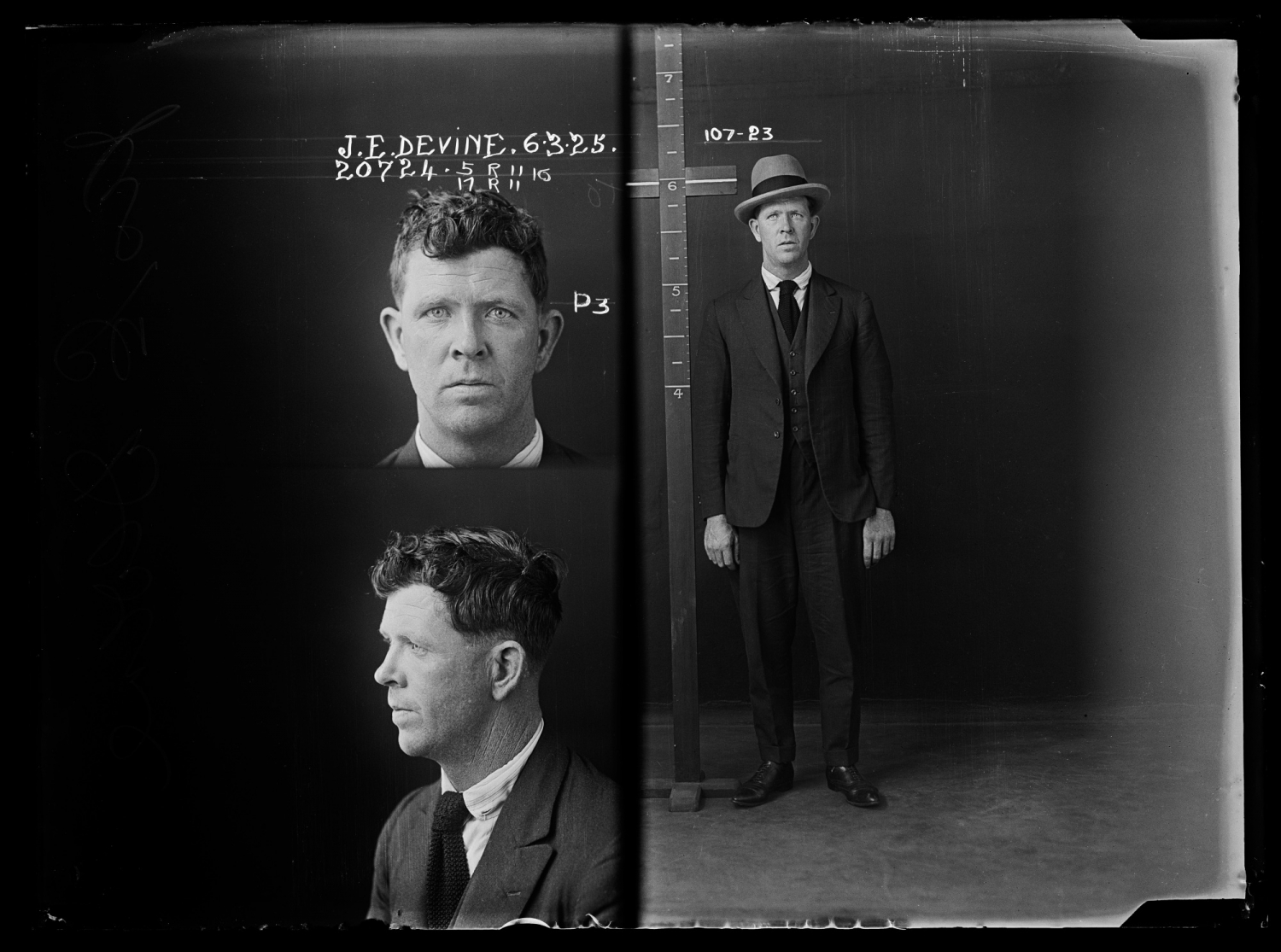 James Edward Devine, criminal record number 20724, 6th March 1925, State Penitentiary, Long Bay.