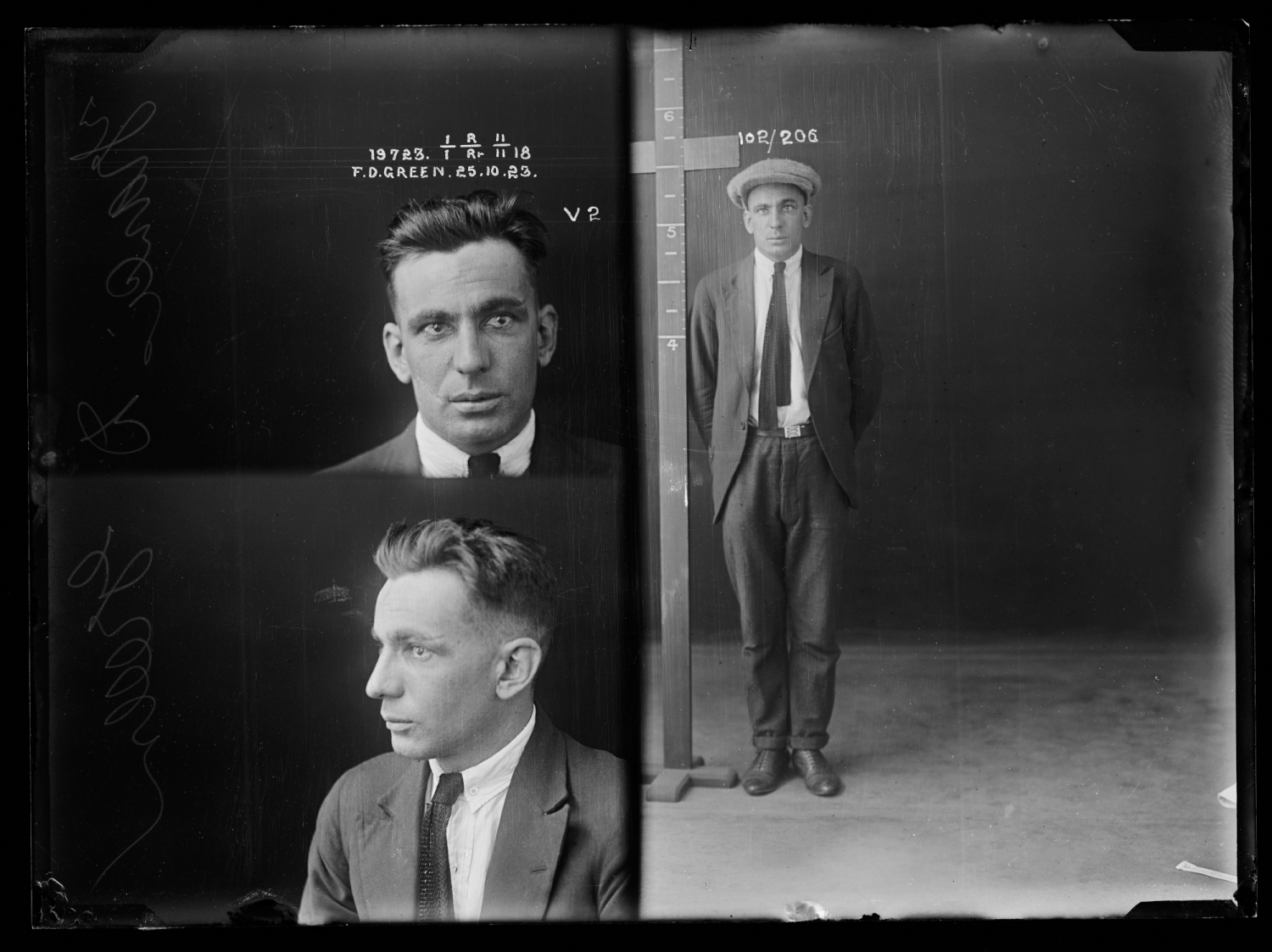 Francis Donald Green, alias Frank Green, criminal record number 19723, 25th October 1923, State Penitentiary, Long Bay.