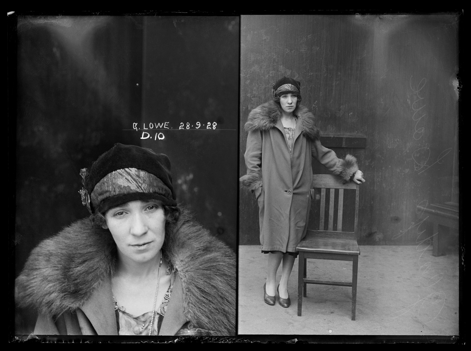 Black and white dual mugshot of woman; seated on left, standing with chair on right.
