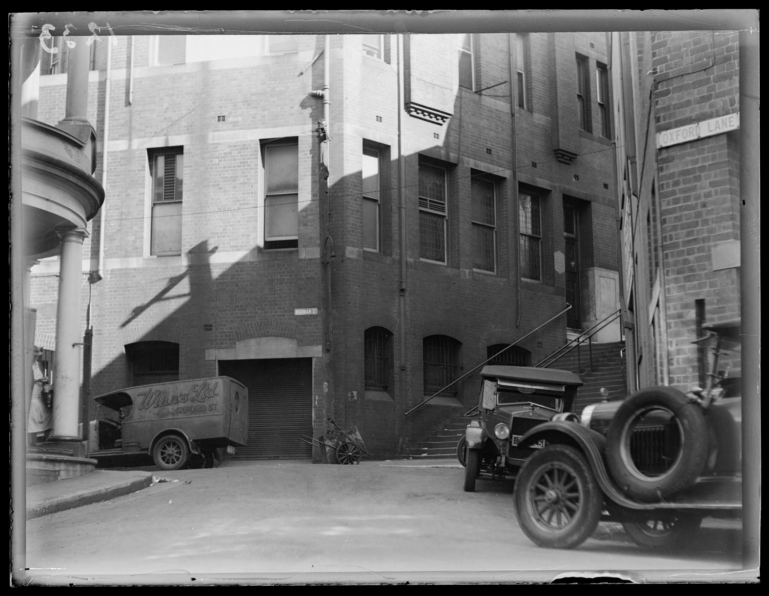 Rear view of buildings on Norman Street and Oxford Lane, with stairs to Oxford Street, Darlinghurst, c 1920s