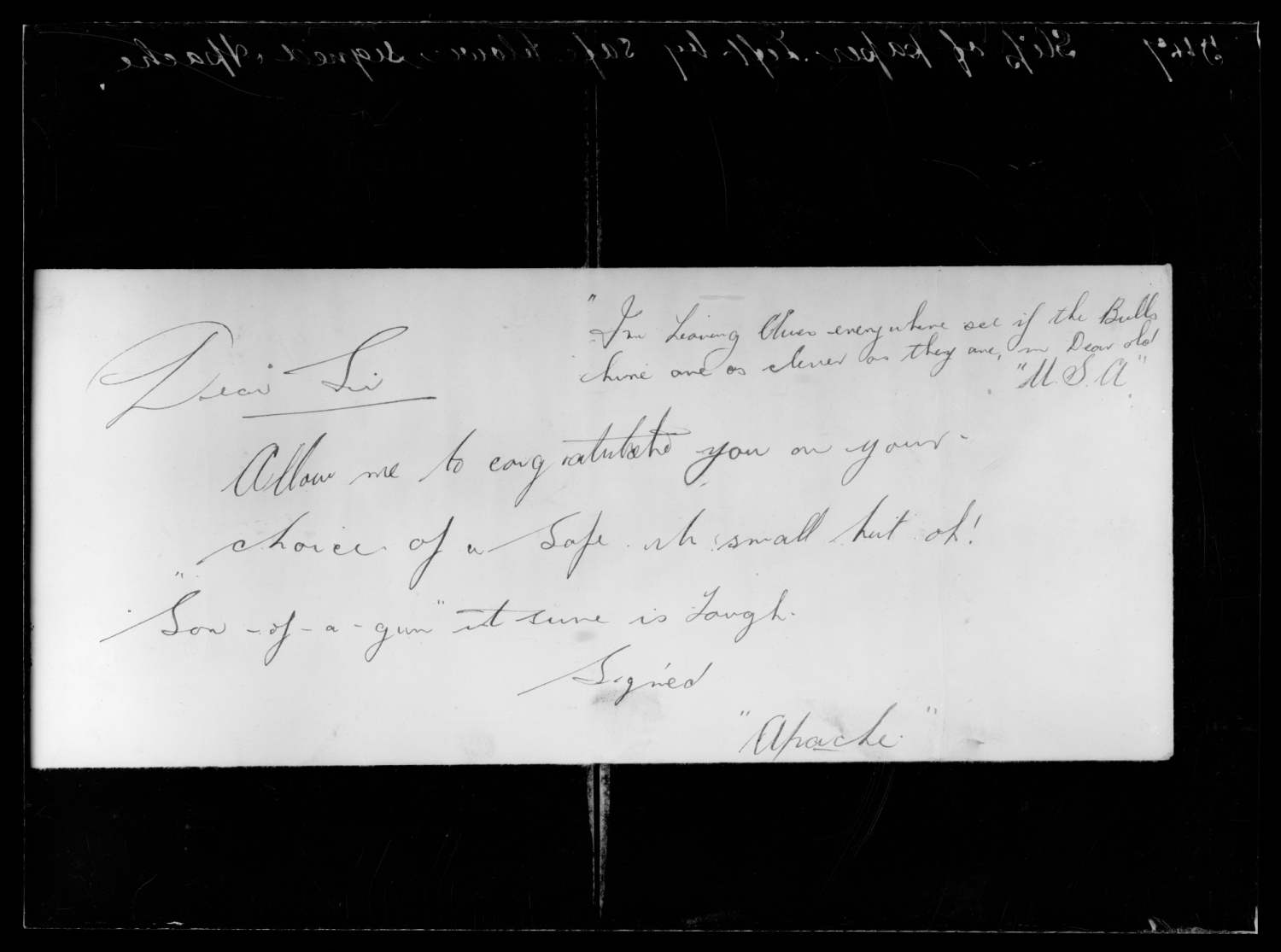 """Apache"" signed note regarding safe, undated, 1925. Believed to have been left by Jack Dennison FP08_0003_008."