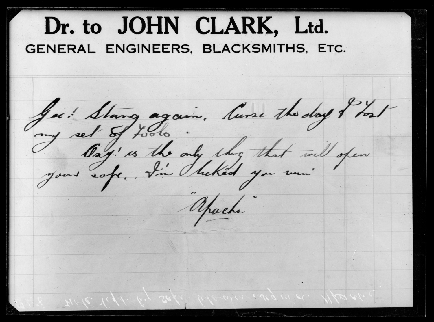 """Apache"" signed note left with blown safe, Dr to John Clark notepaper, c 1920s. Apache was Jack Dennison an 18 year old thief and he left this note when he broke into Cremo Coffee Co. on the 14th April 1925."